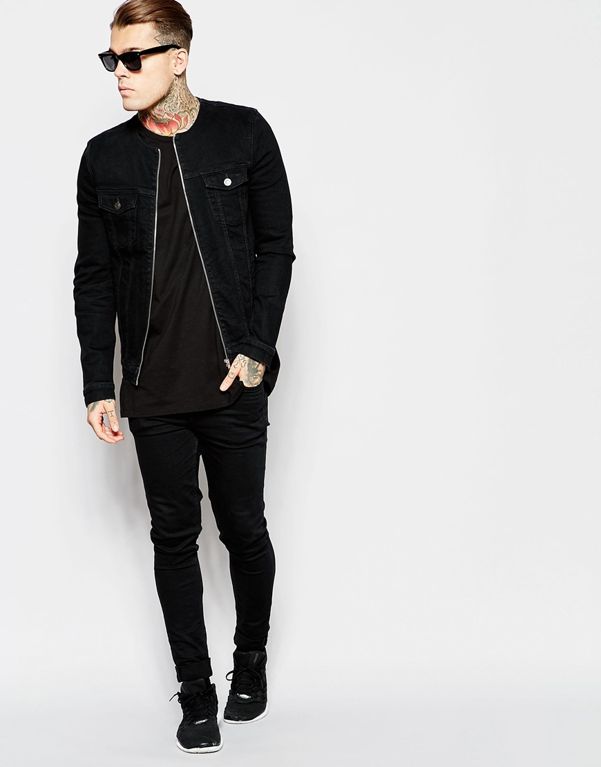 Lyst - Asos Collarless Denim Jacket in Black for Men