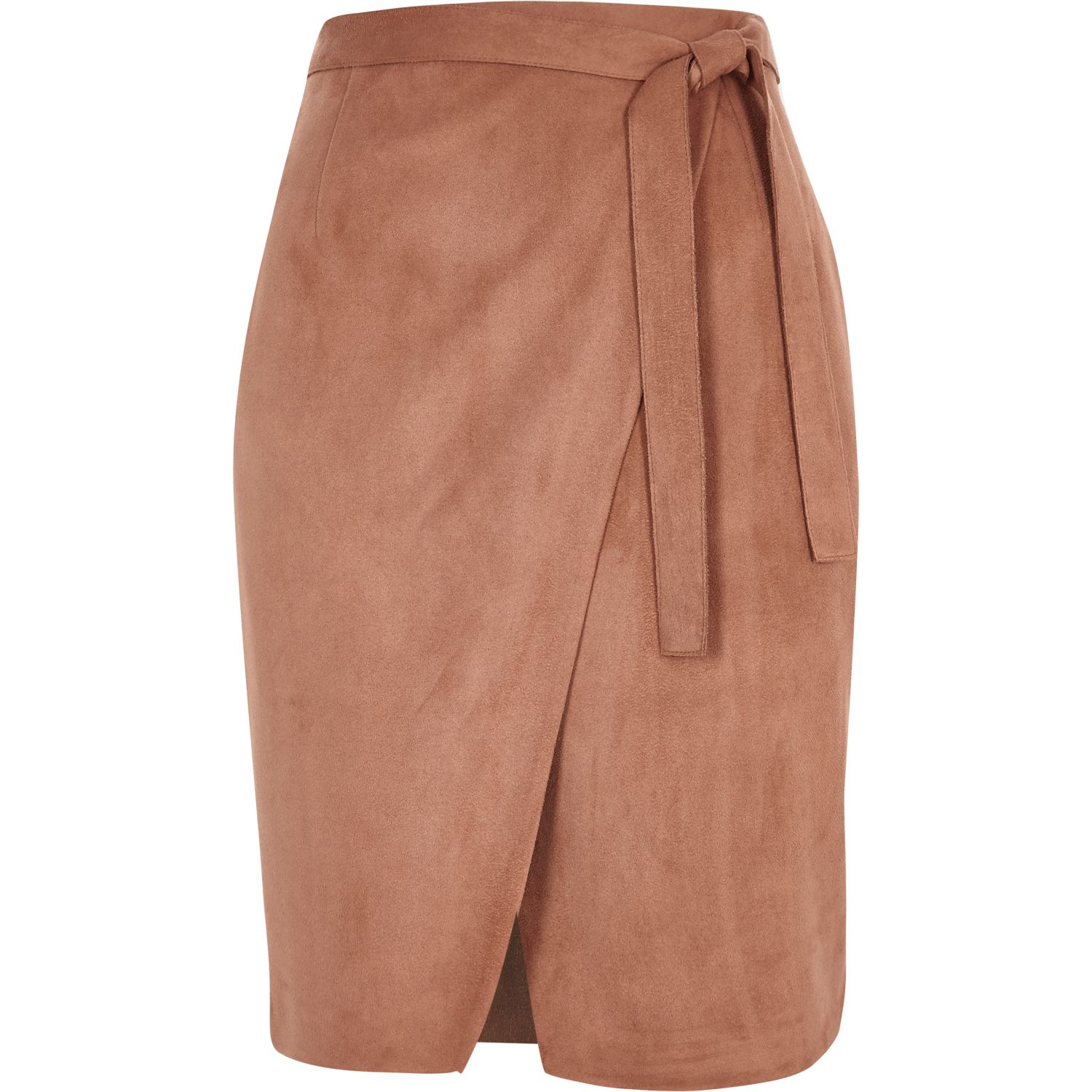Brown Suede Skirt River Island