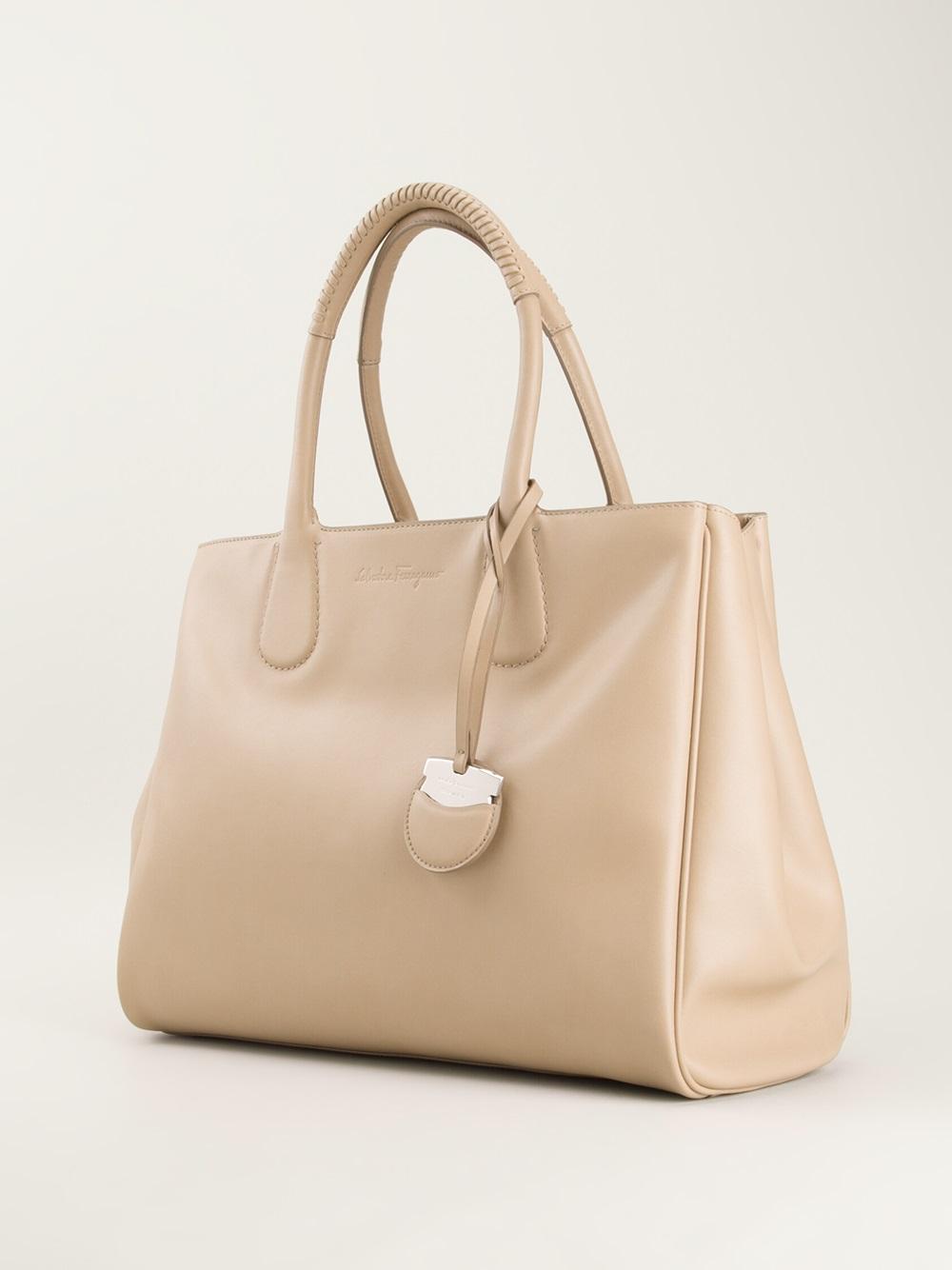 0a49bff4701 Lyst - Ferragamo Nolita Tote Bag in Natural