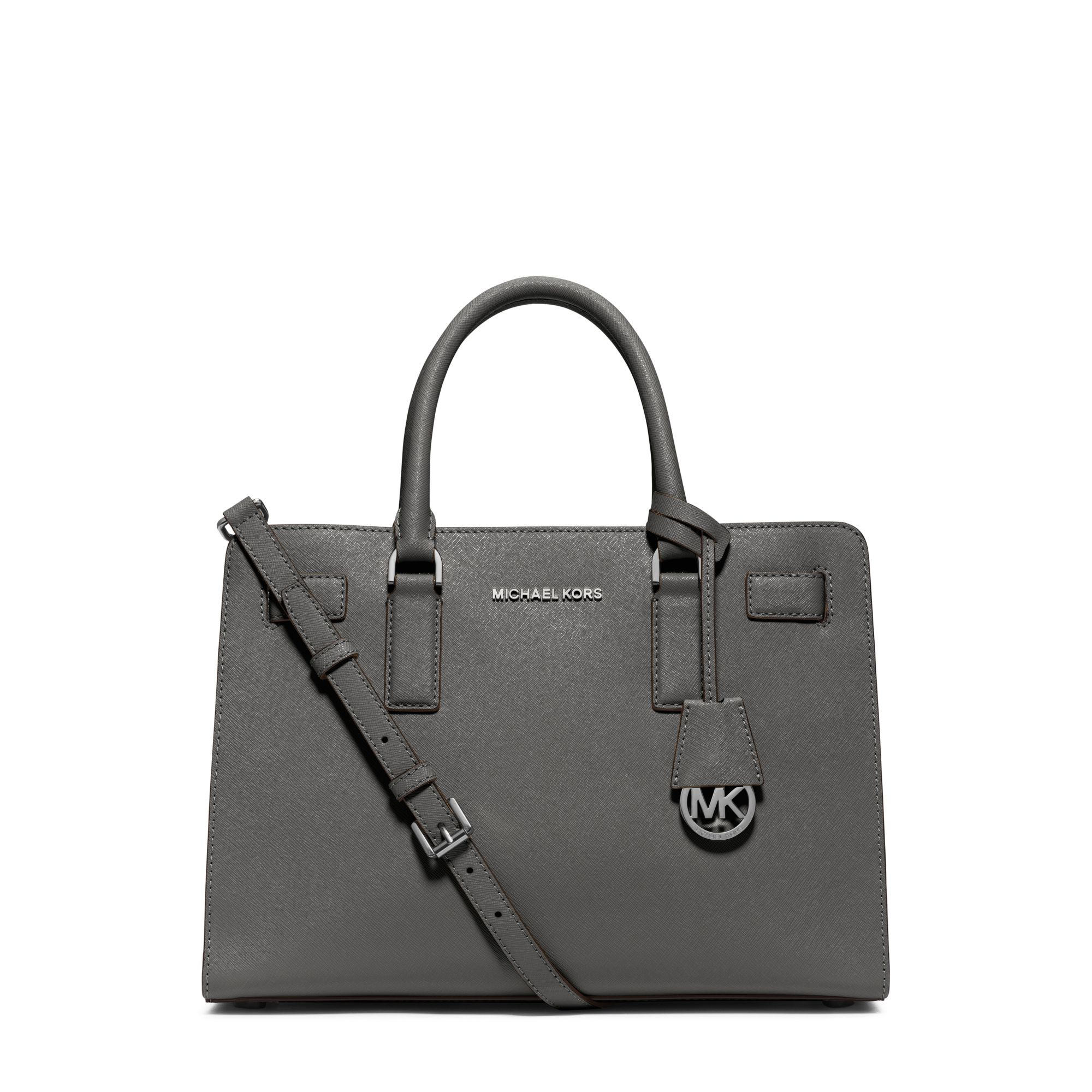lyst michael kors dillon leather satchel in gray rh lyst com