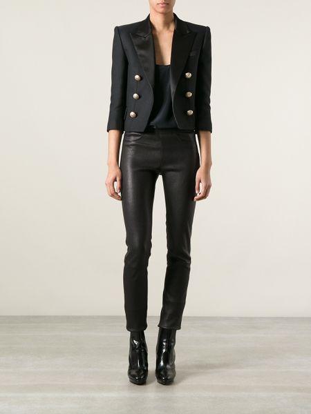 Balmain Cropped Boxy Blazer In Black Lyst