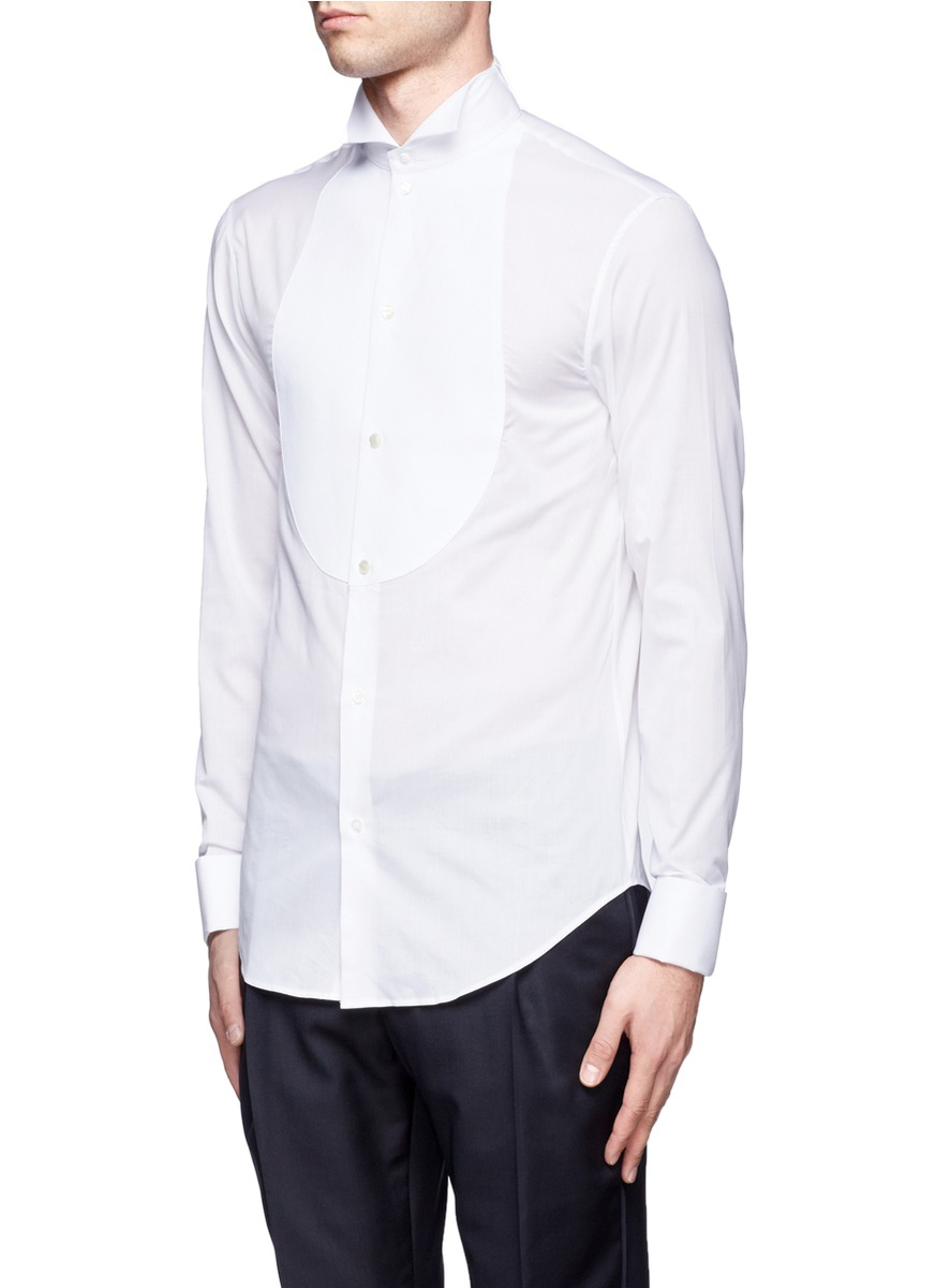 Armani wingtip collar cotton tuxedo shirt in white for men for Tuxedo shirt wing tip