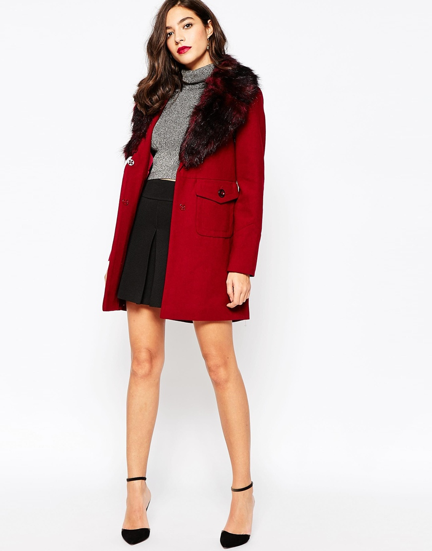 Warehouse Premium Faux Fur Collar Coat in Red | Lyst