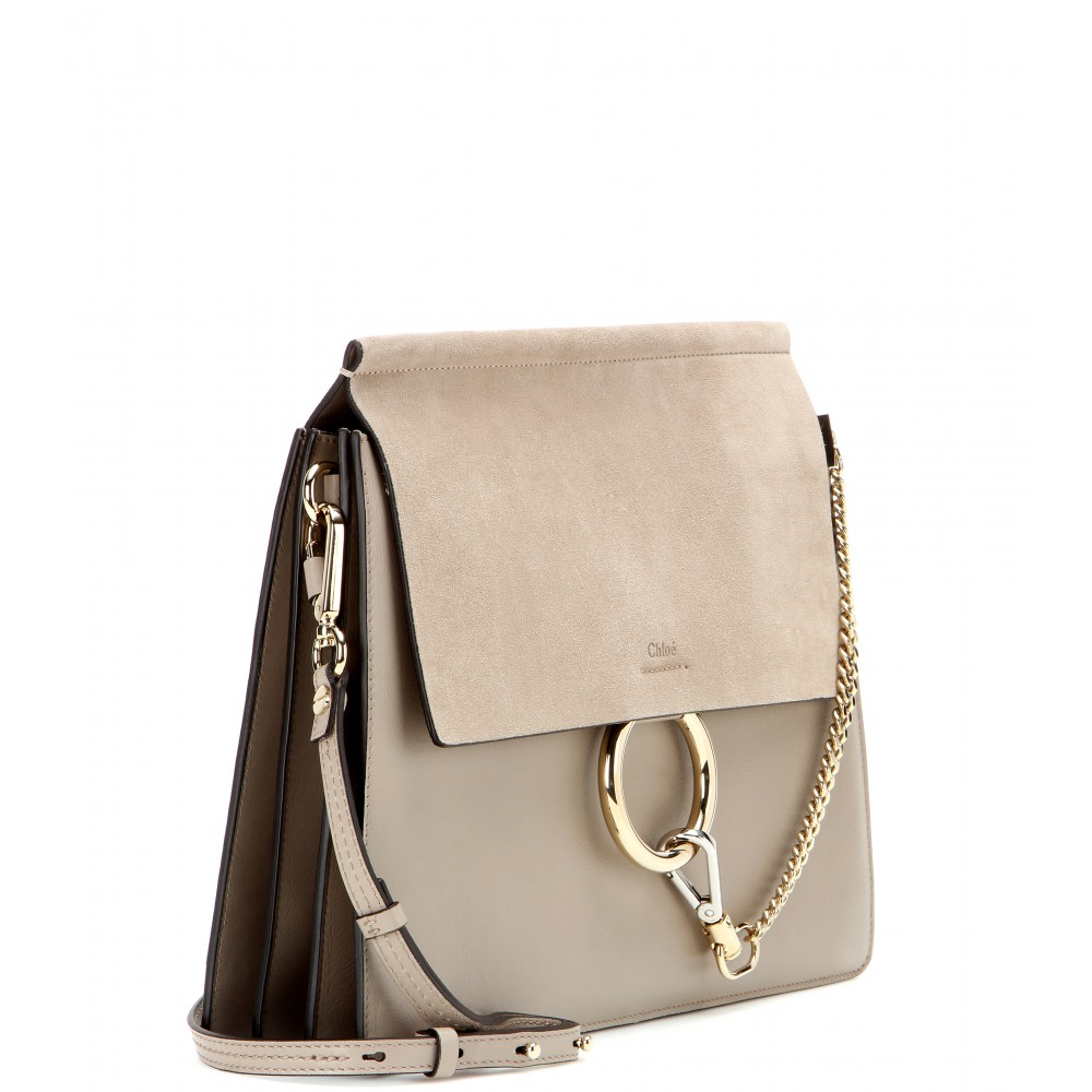 302c68aaddd5 Lyst - Chloé Faye Leather and Suede Shoulder Bag in Gray