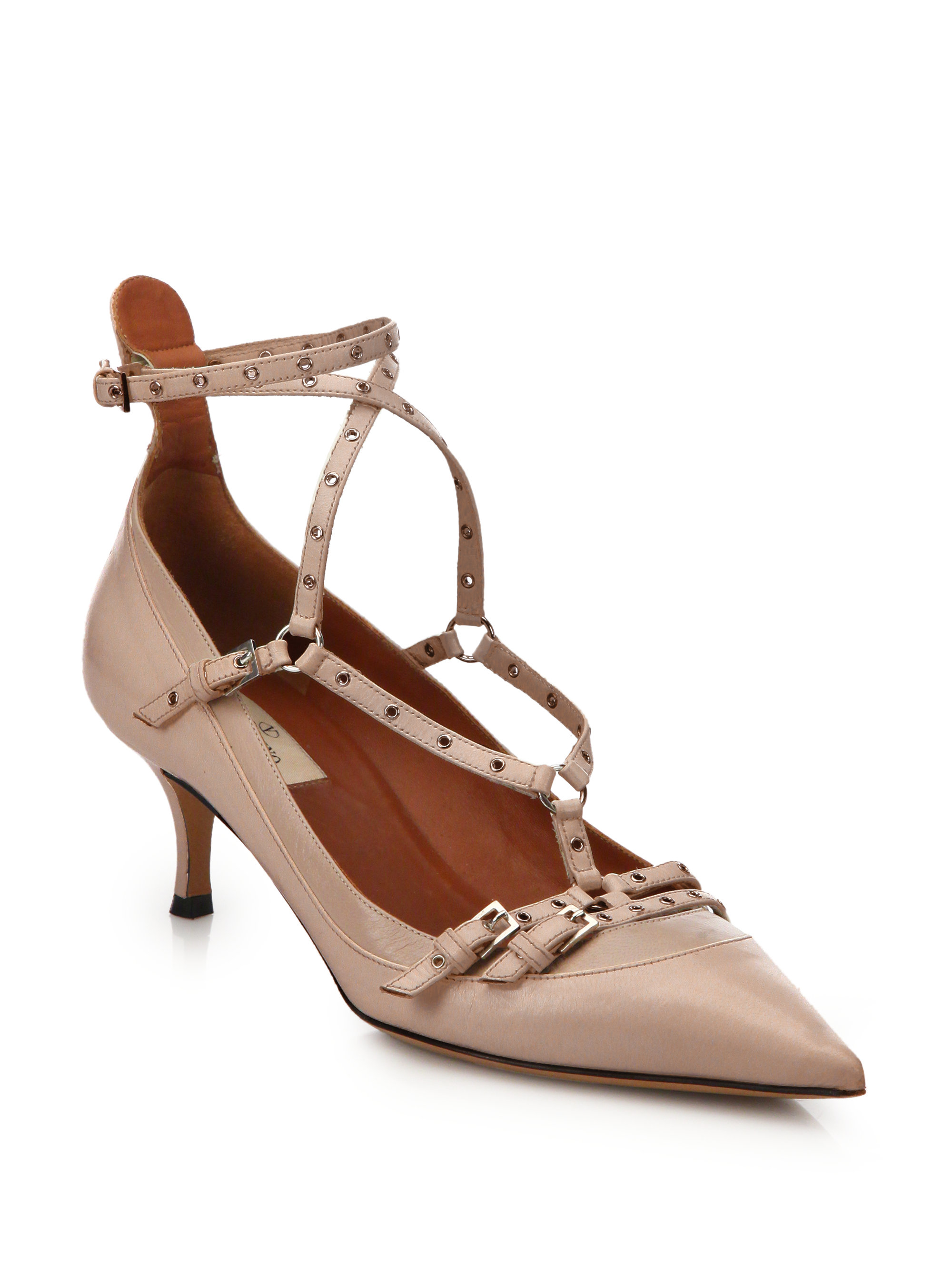 Tan Kitten Heel Shoes