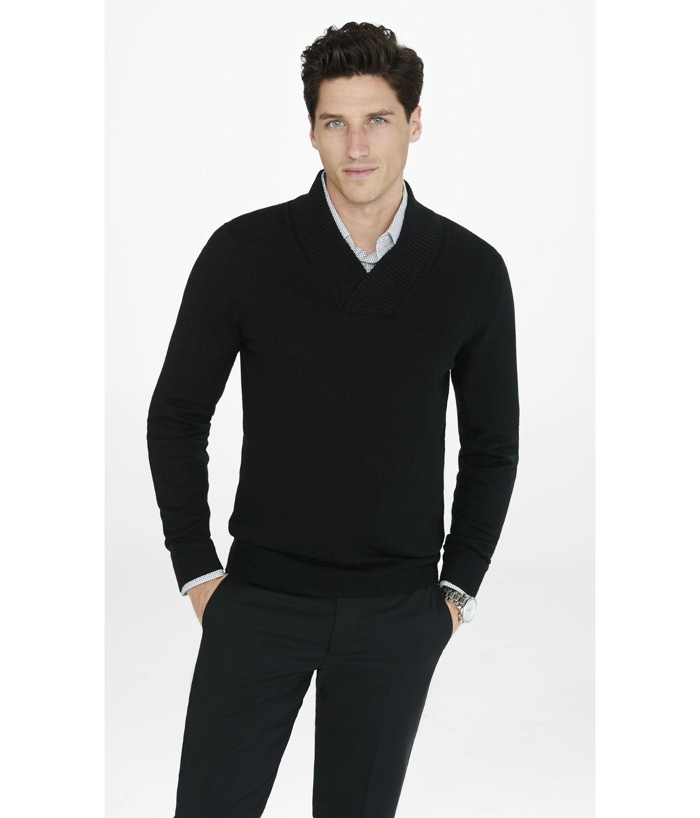 Express Merino Wool Shawl Collar Sweater in Black for Men | Lyst