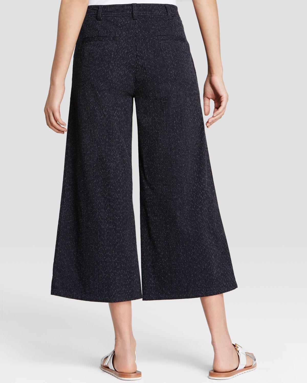 Eileen fisher Textured Denim Gaucho Pants in Blue | Lyst