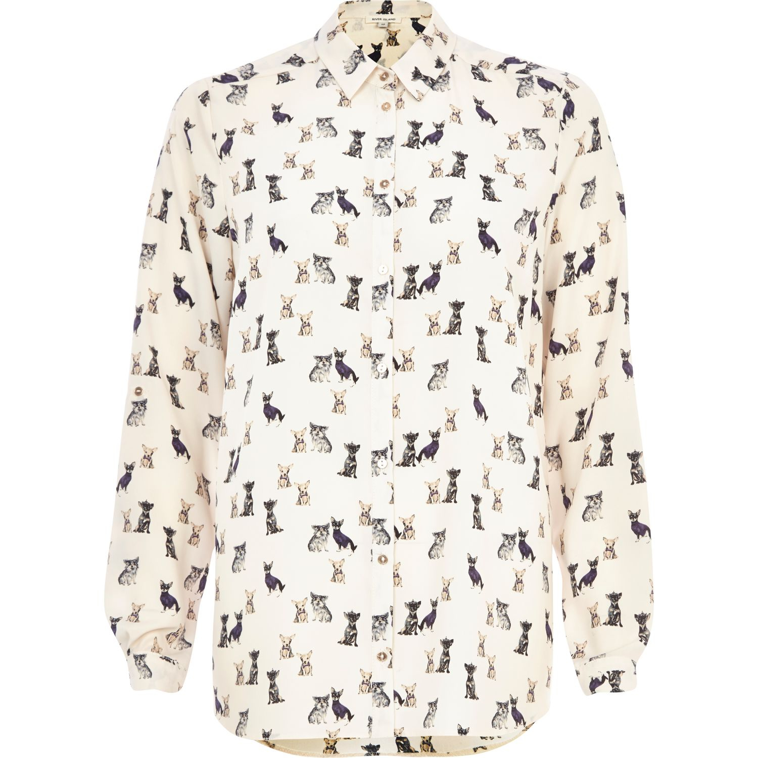 759a074f8 River Island Dog Print Oversized Shirt in Natural - Lyst