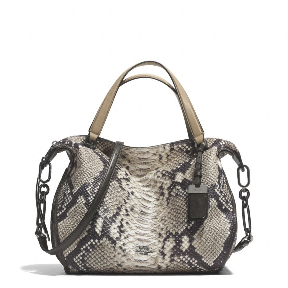 coach madison smythe satchel in diamond python leather in gray lyst. Black Bedroom Furniture Sets. Home Design Ideas