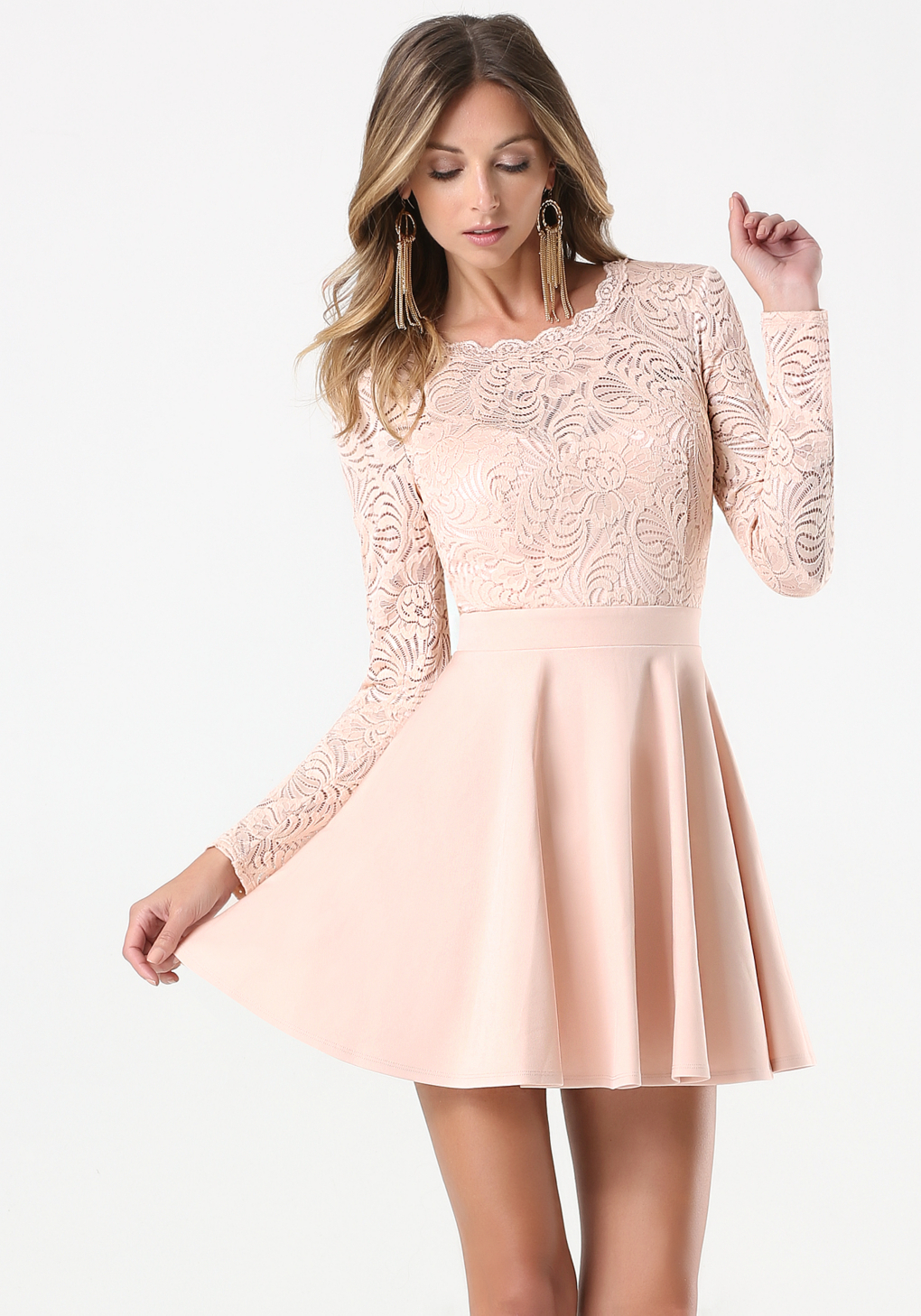 3e113edb21d Lyst Bebe Lace Backless Flared Dress In Pink. Tahari Lace Fit Flare Blush  ...