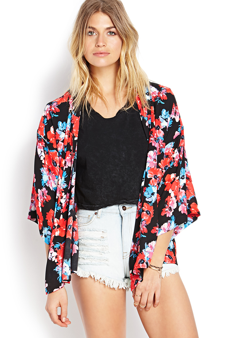 forever 21 watercolor floral kimono in red
