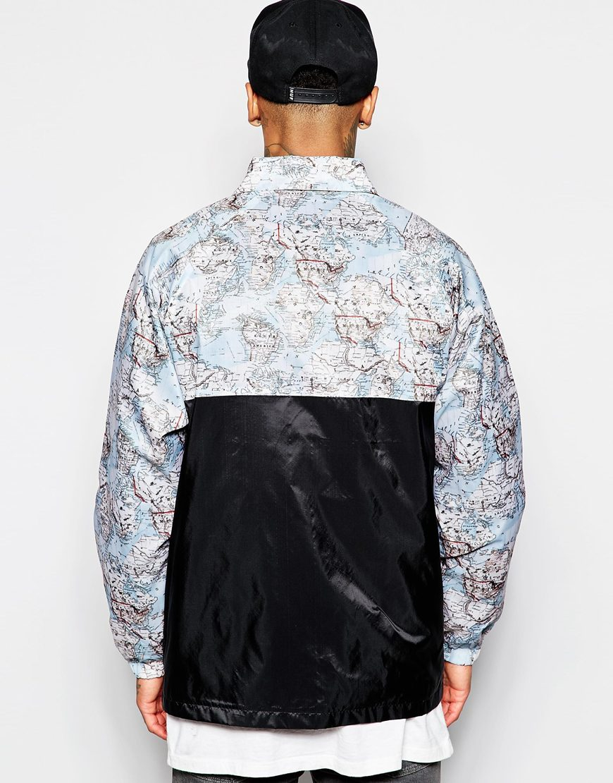 Lyst hype coach jacket with world map print in blue for men gallery gumiabroncs Choice Image