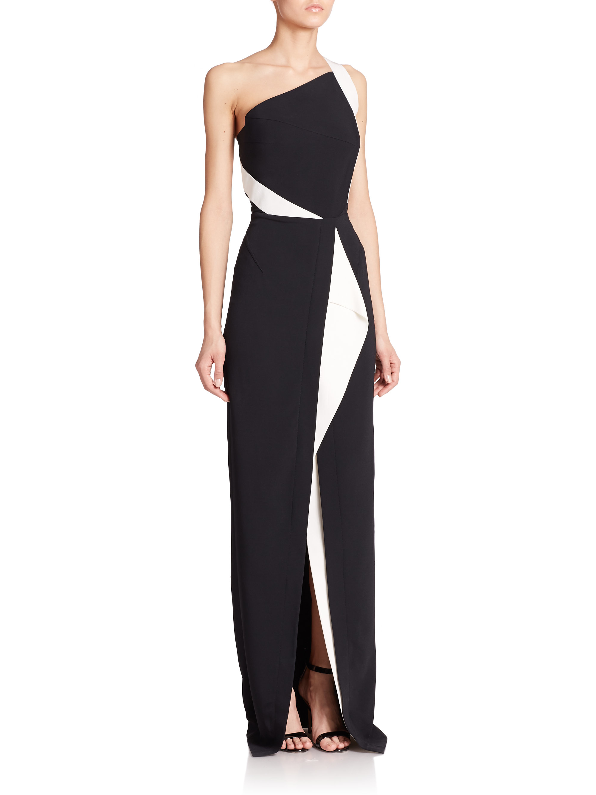One shoulder dress black and white