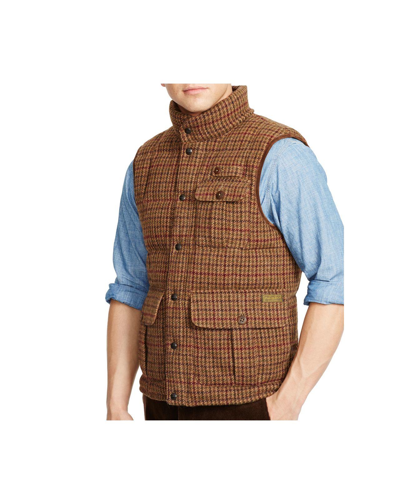 Polo Ralph Lauren Wolf Creek Tweed Down Vest in Brown for