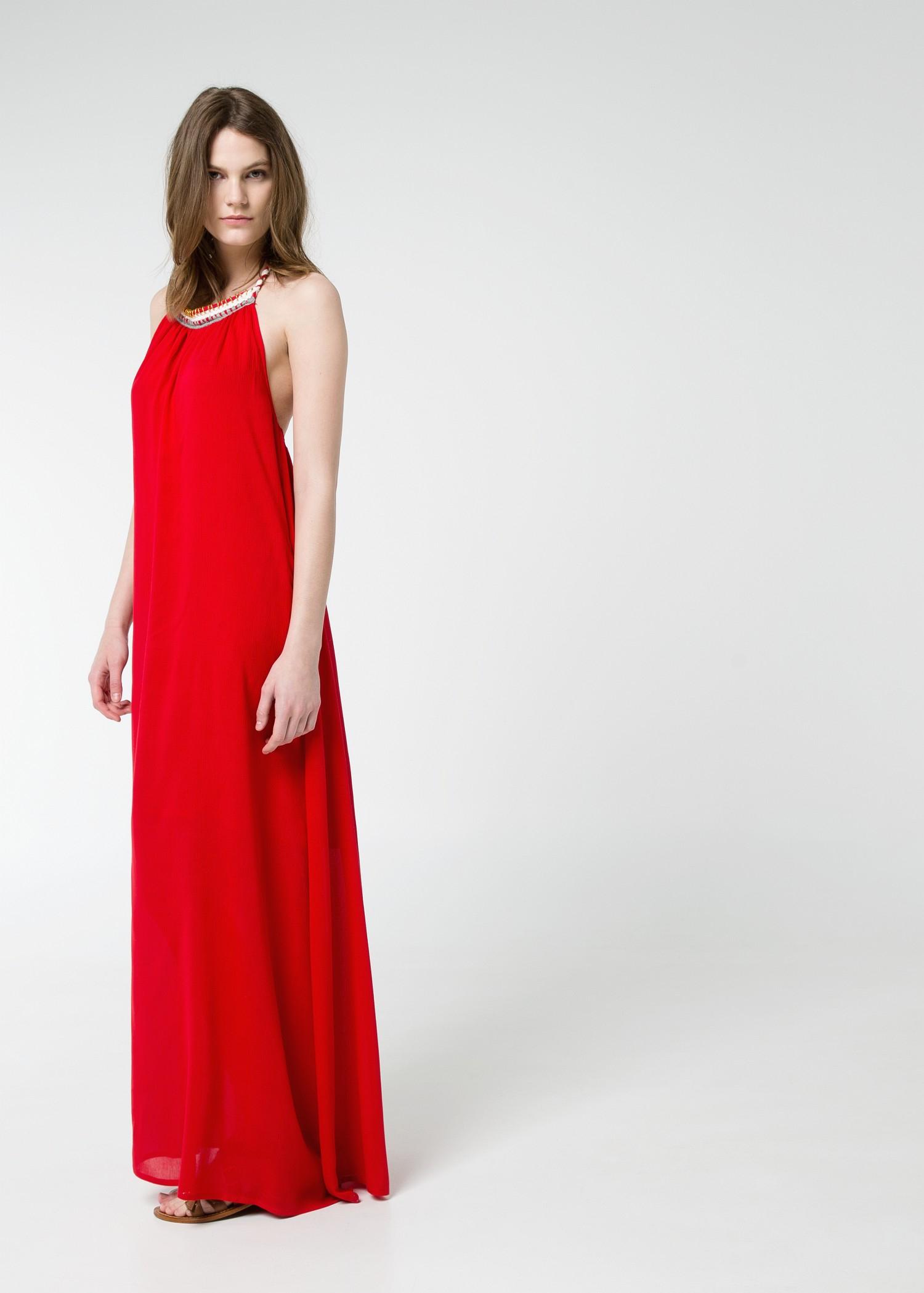 Mango Halter Long Dress in Red   Lyst