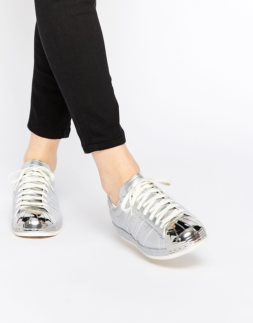 adidas originals superstar 80 39 s silver metallic trainers. Black Bedroom Furniture Sets. Home Design Ideas