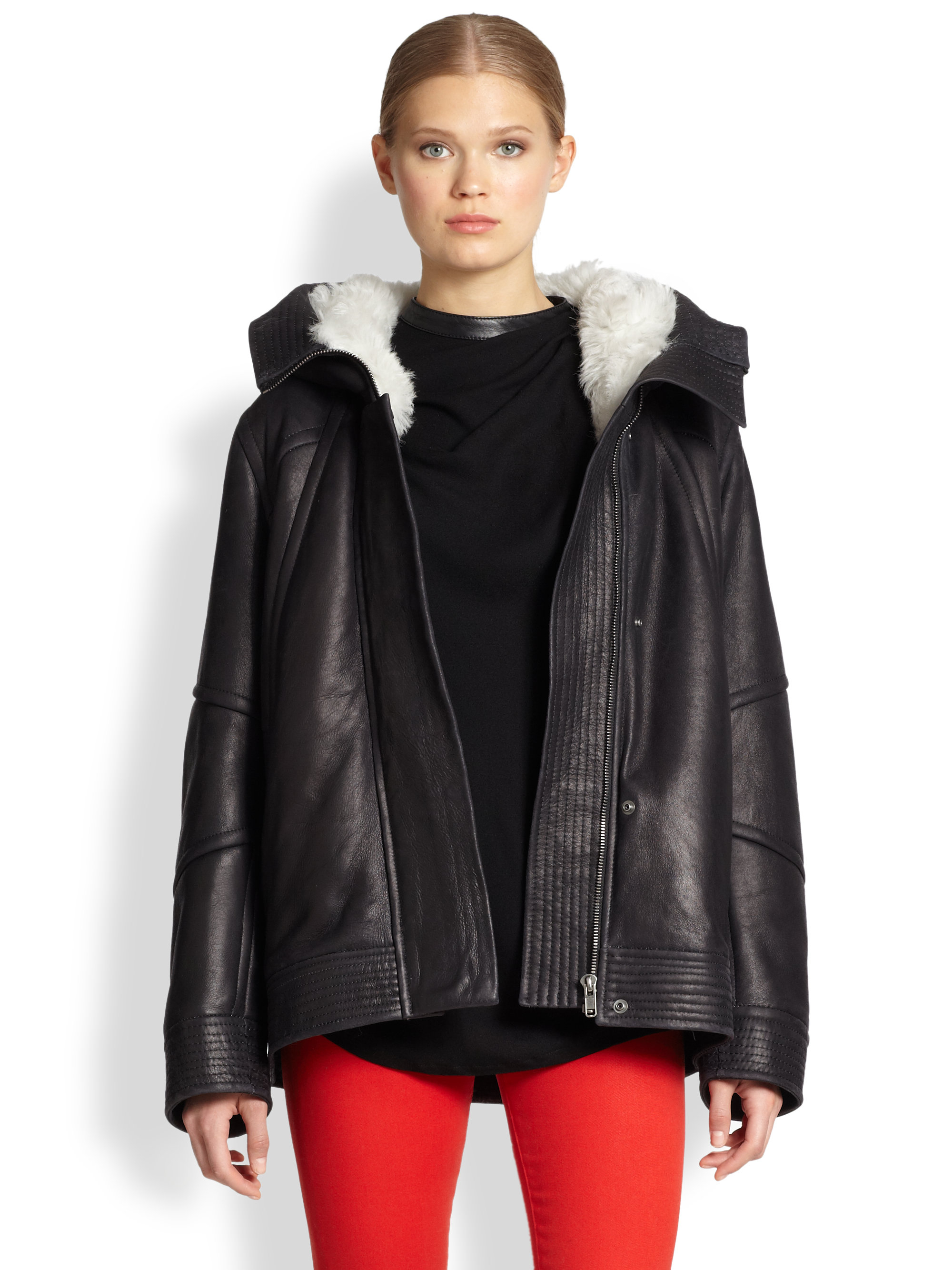 Helmut lang Lamb Shearling &amp Leather Hooded Coat in Black | Lyst