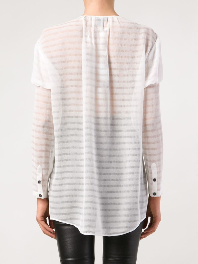 6c9a47927b940d Burberry Prorsum Sheer Striped Blouse in White - Lyst