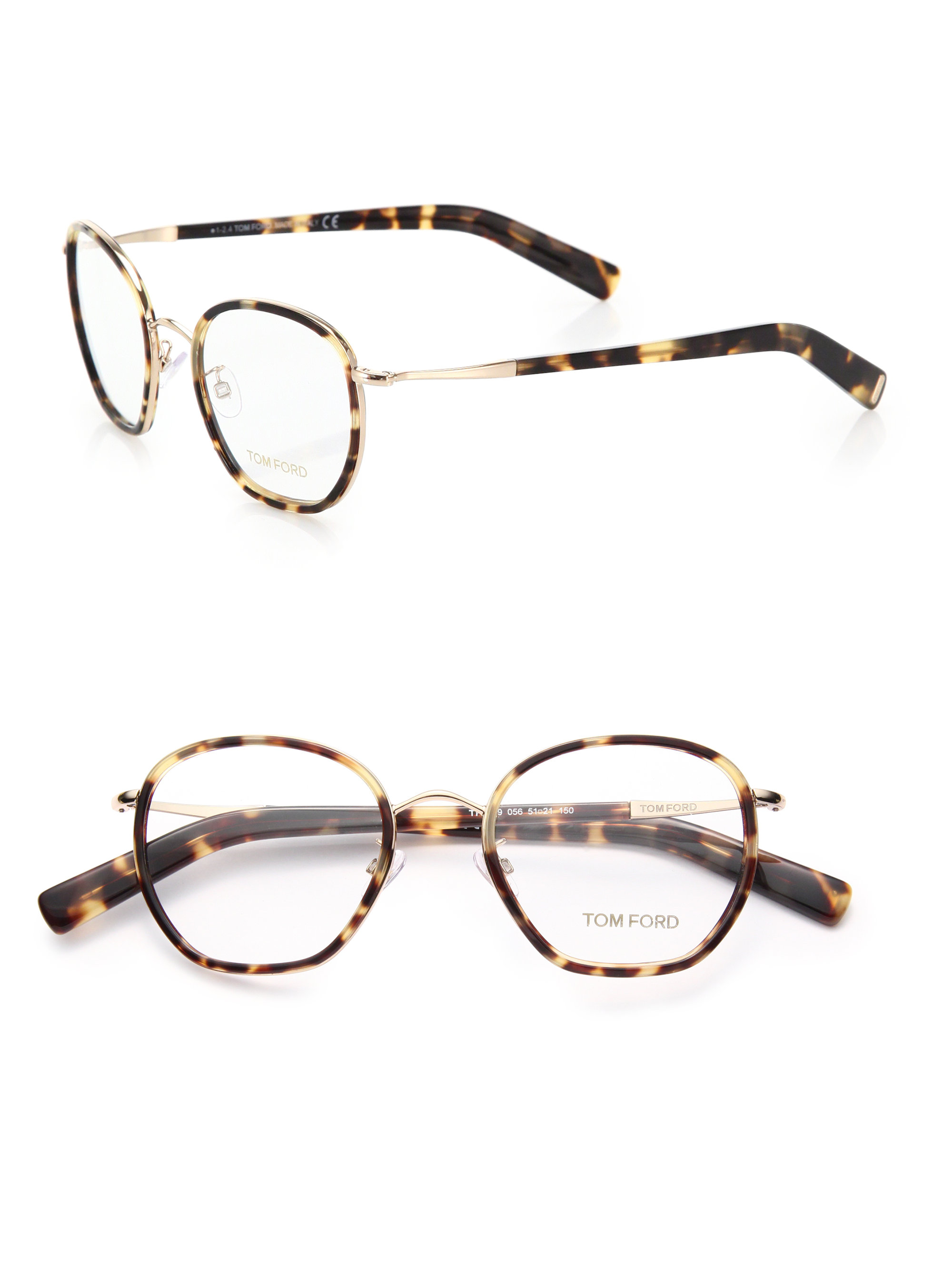 c1f23ffdd5bc Lyst Tom Ford 51mm Round Acetate Metal Optical Glasses In Brown