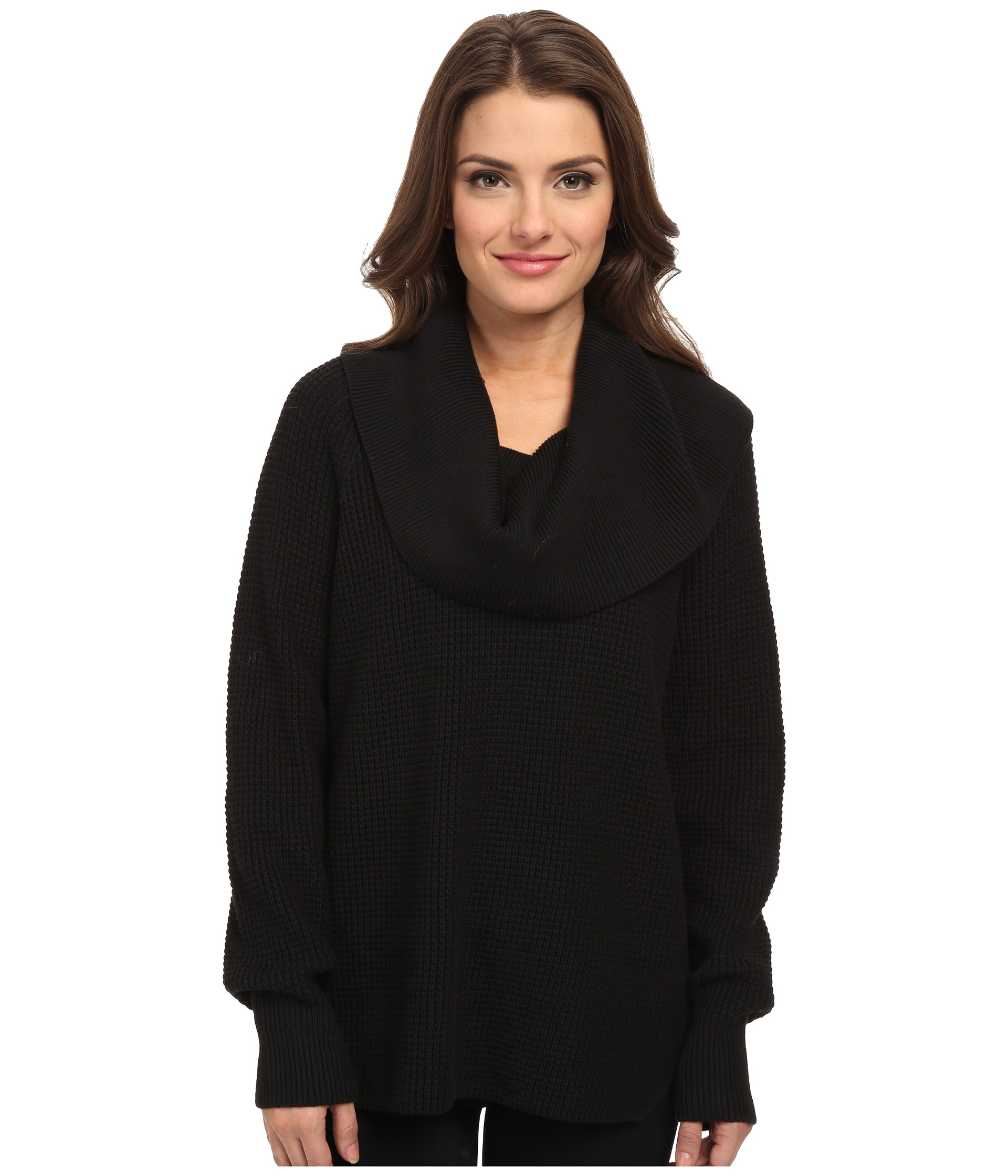 Michael michael kors Petite Thermal Cowl Neck Sweater in Black | Lyst