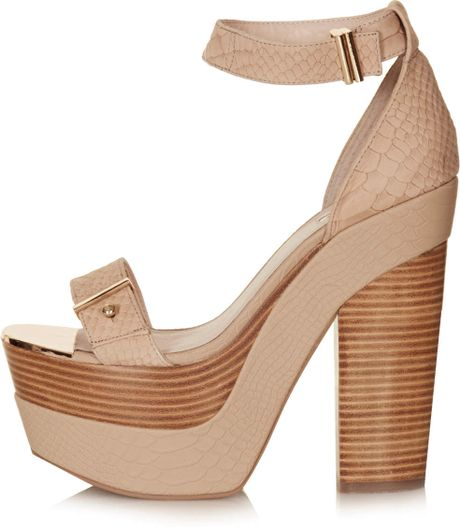 topshop lark metal platform shoes in beige lyst