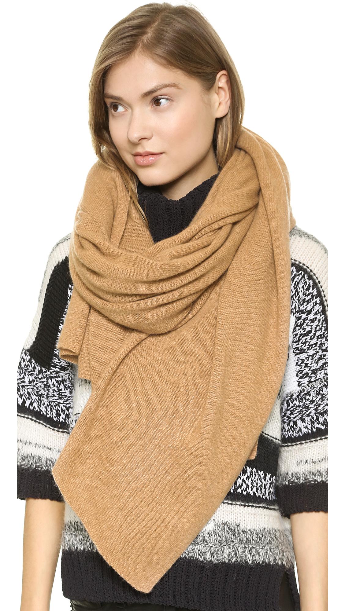 Lyst white warren white warren cashmere travel wrap scarf autumn magenta in natural for Travel scarf