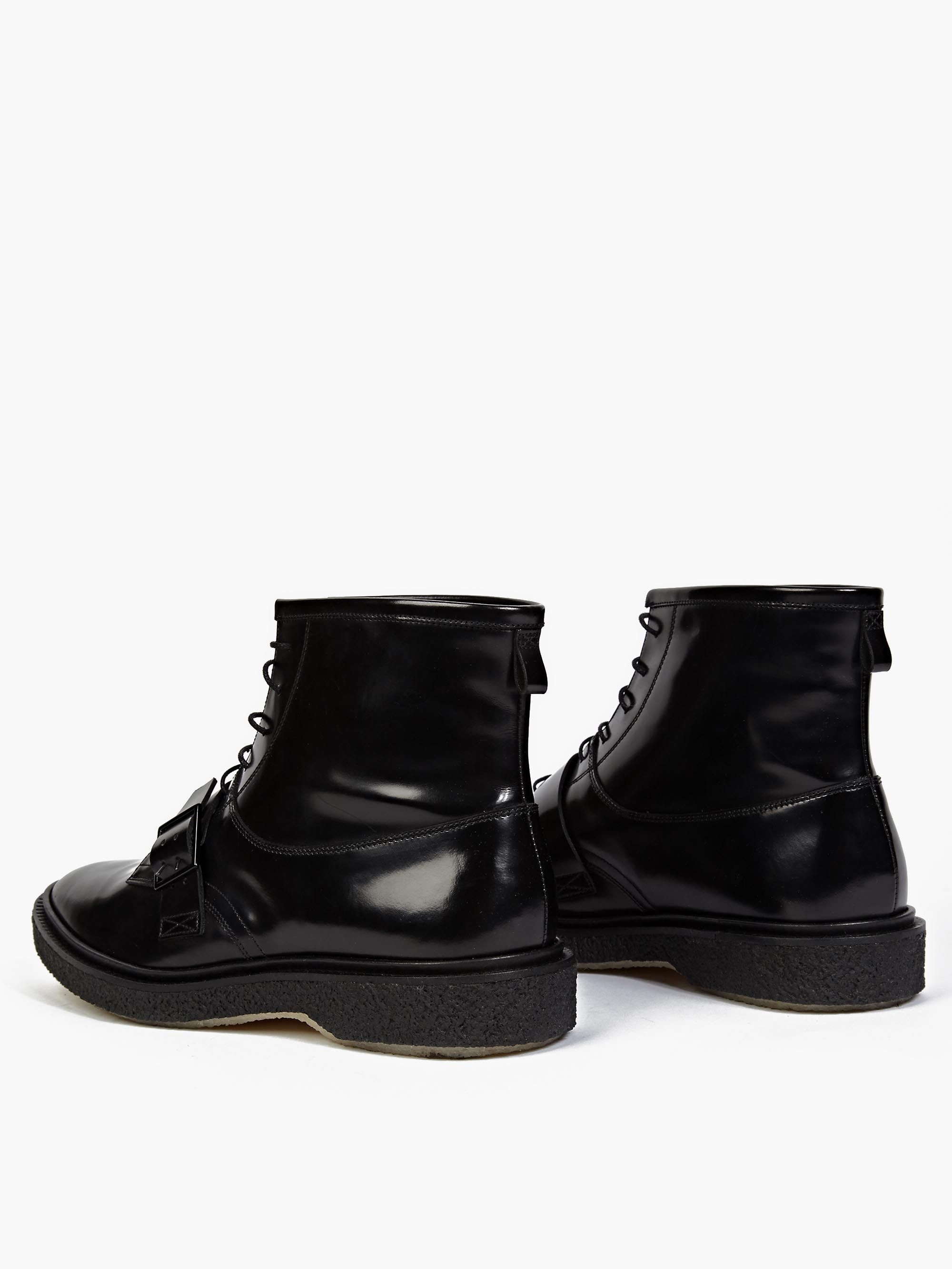 adieu black leather type 46 detail boots in black