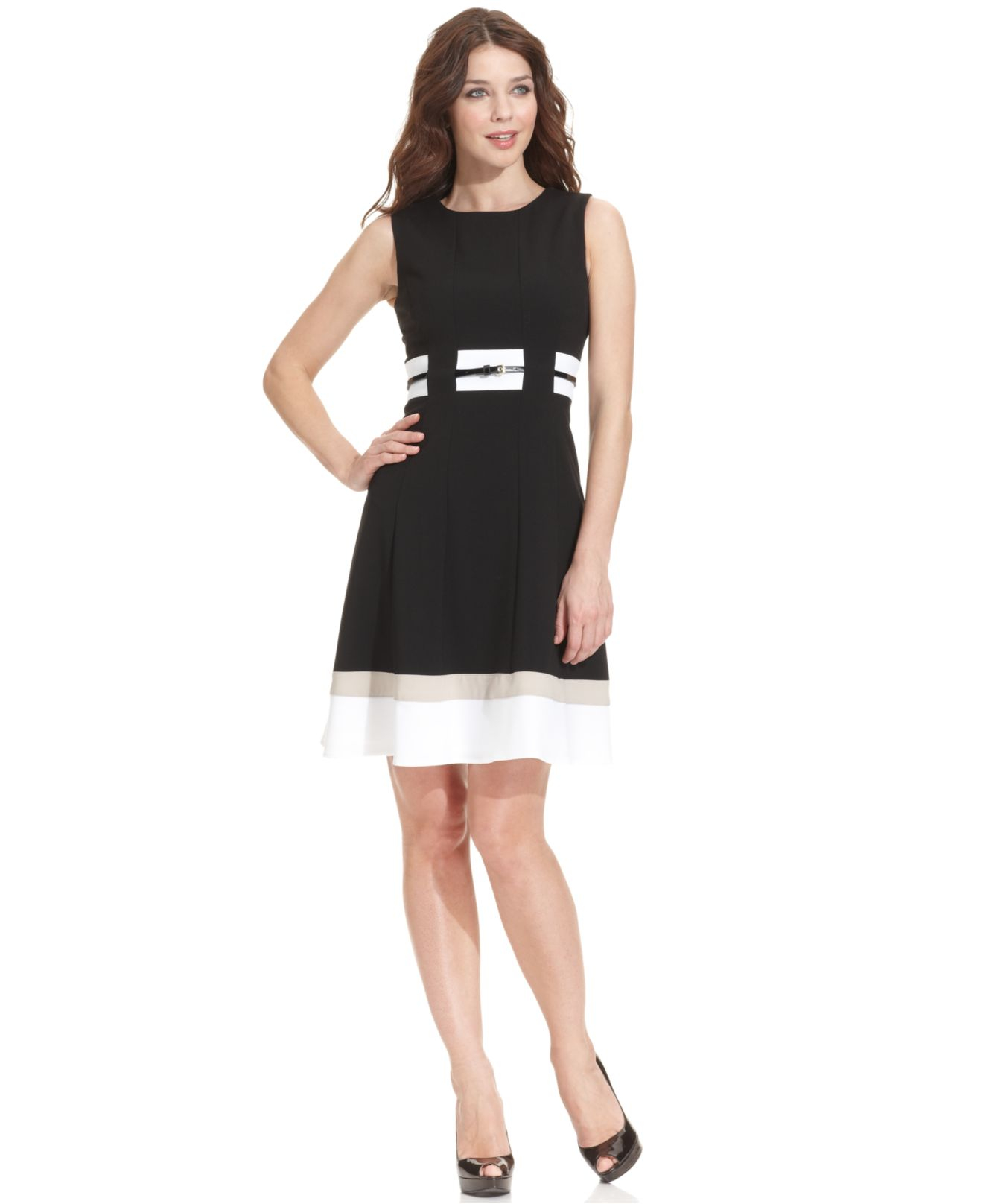 Lyst Calvin Klein Colorblocked Belted Fit Amp Flare Dress