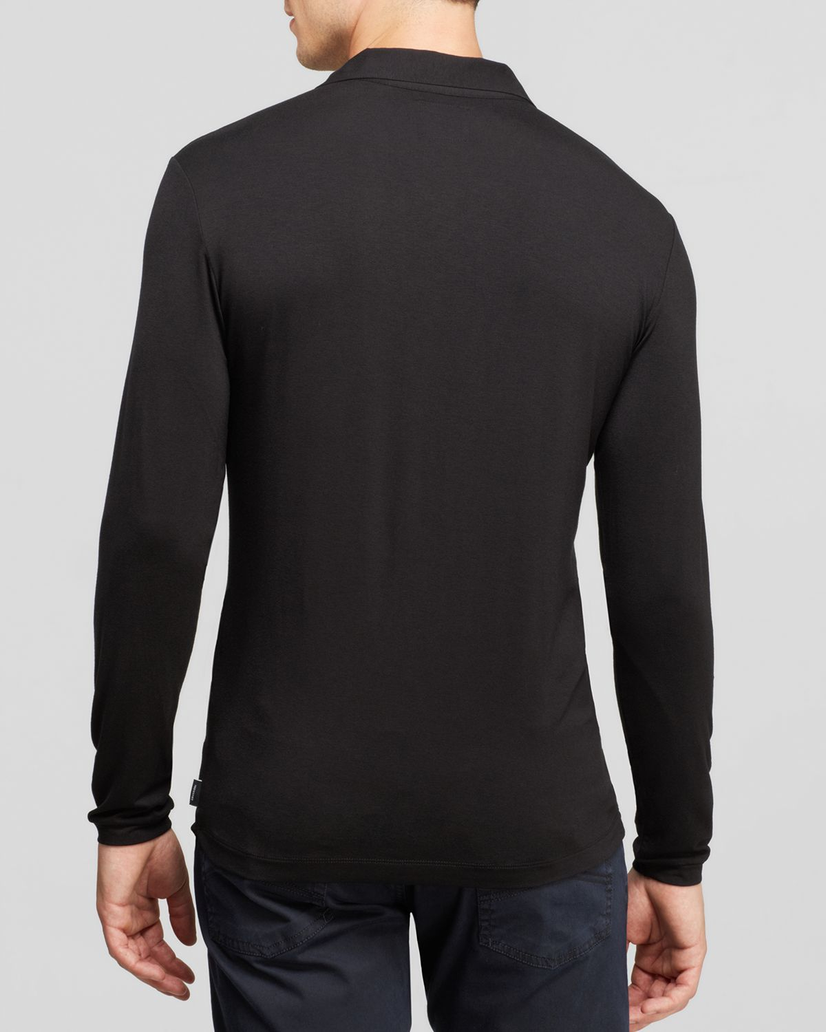 4669d48928 Lyst Armani Long Sleeve Polo in Black for Men