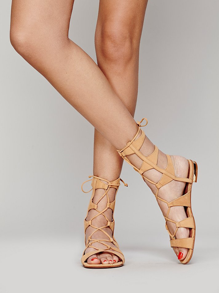 Lyst Schutz Lina Lace Up Sandals In Natural