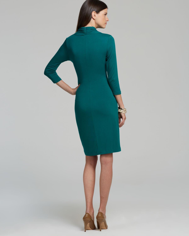 Karen Kane Green Cascade Faux Wrap Dress Lyst