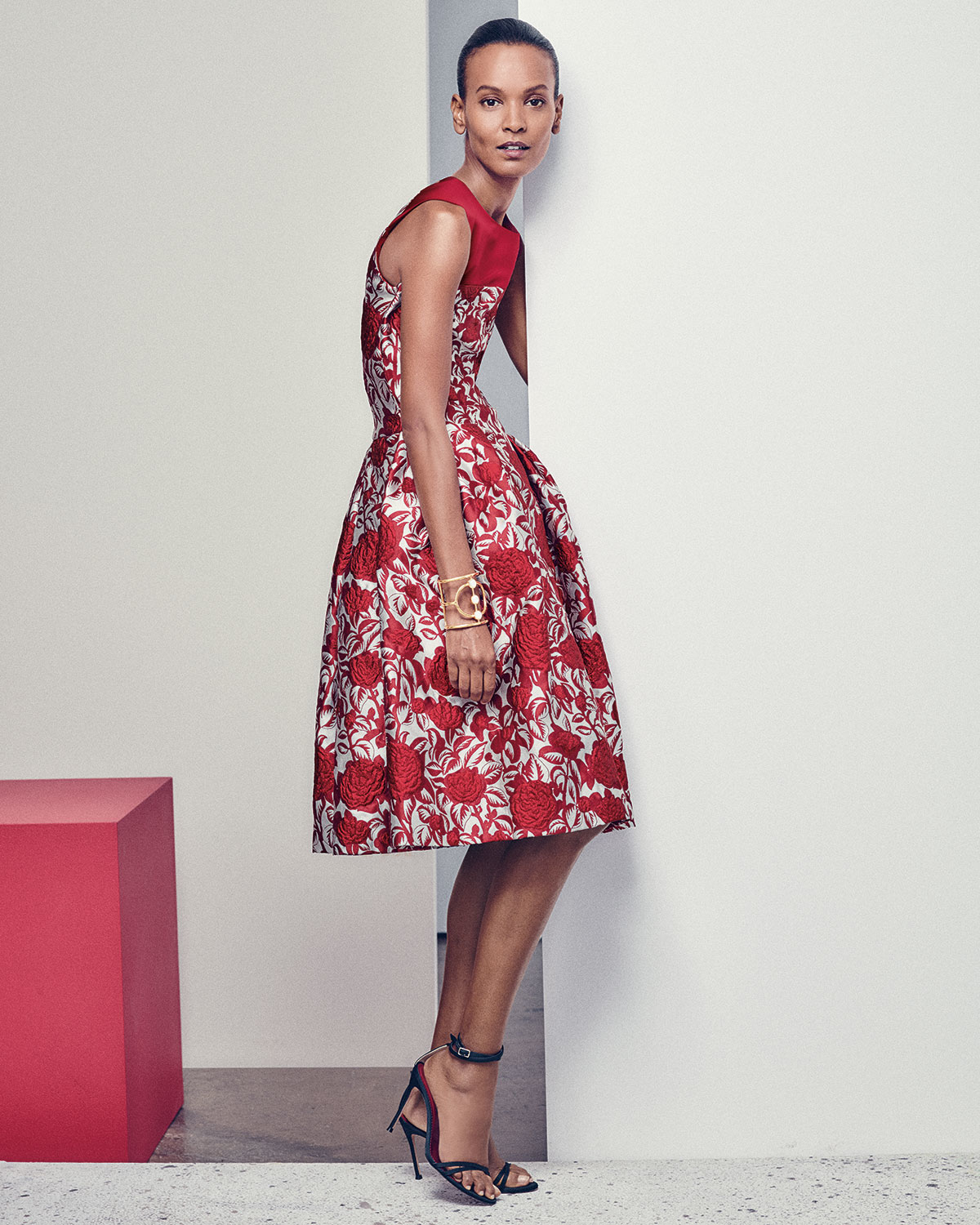 Lyst - Carolina Herrera Fit-&-flare Rose-print Cocktail Dress in Red