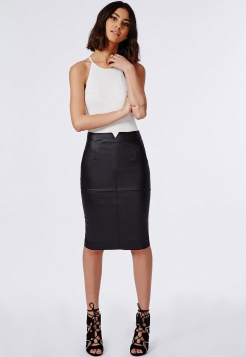 Missguided Notch Waistband Faux Leather Midi Skirt Black in Black ...