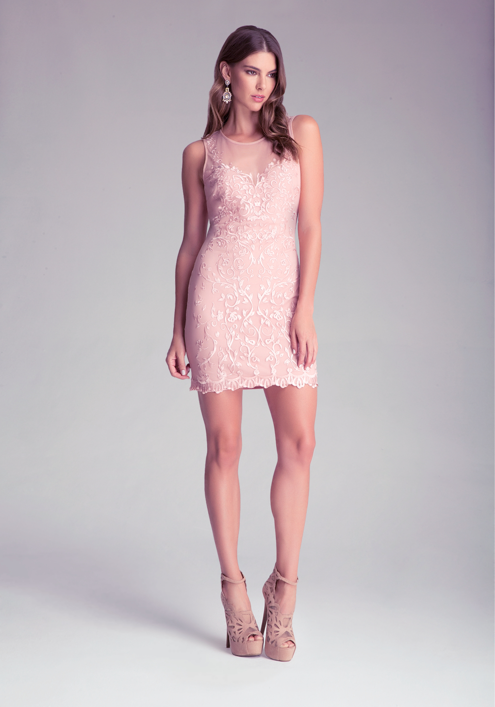 Bebe embroidered lace dress in pink lyst gallery ombrellifo Images