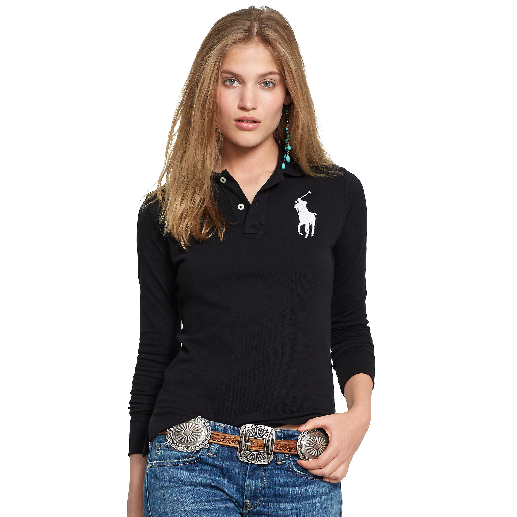 Polo Ralph Lauren | Black Skinny-fit Big Pony Polo | Lyst. View Fullscreen