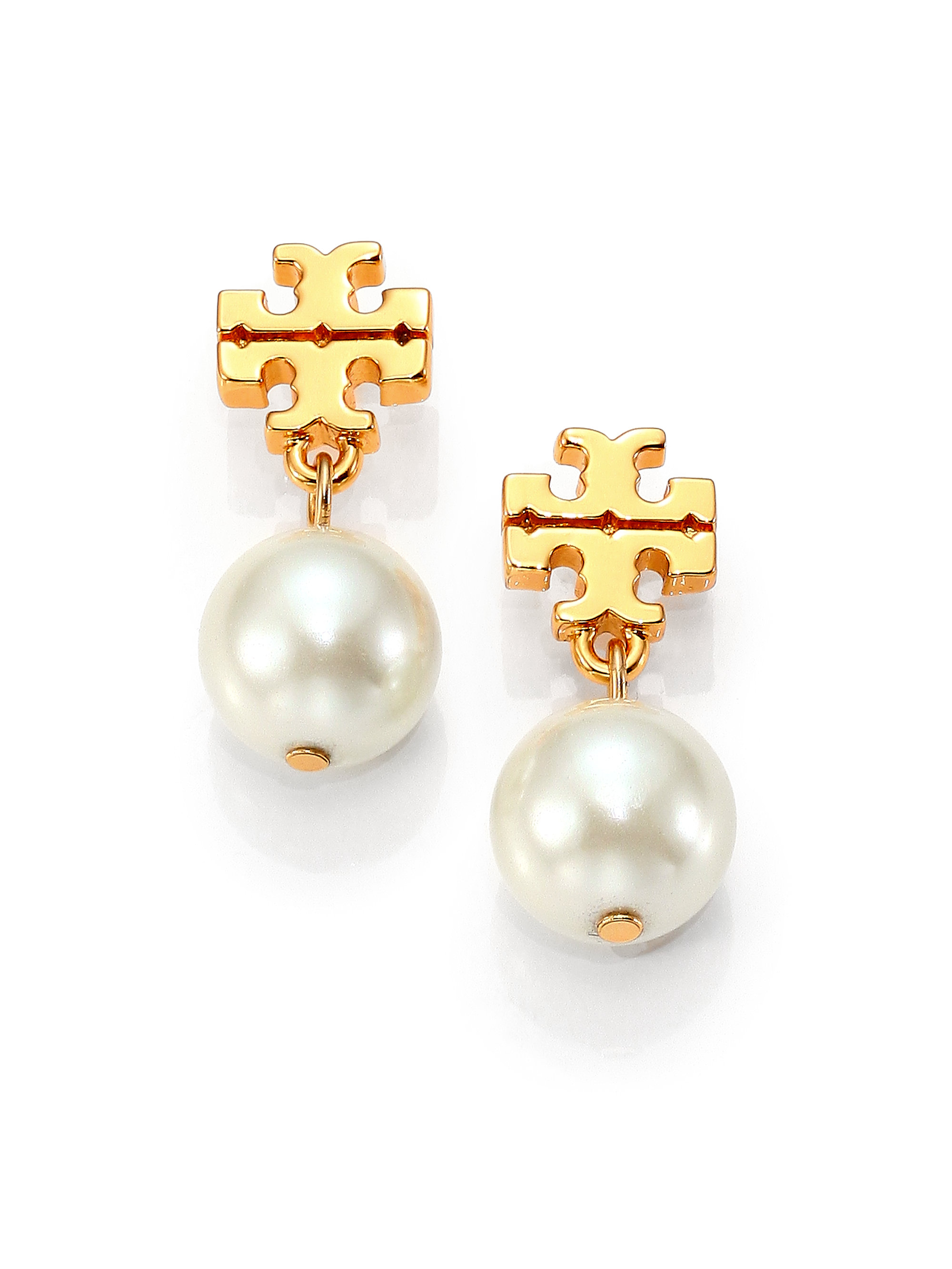 aff07f80243e9 Tory Burch Rose Gold Pearl Earrings - HD Image Flower and Rose ...