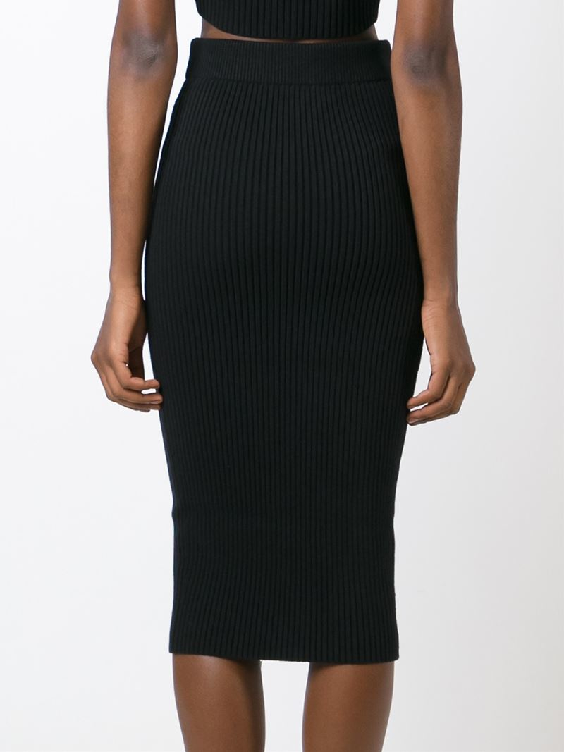 t by wang ribbed knit midi skirt in black lyst