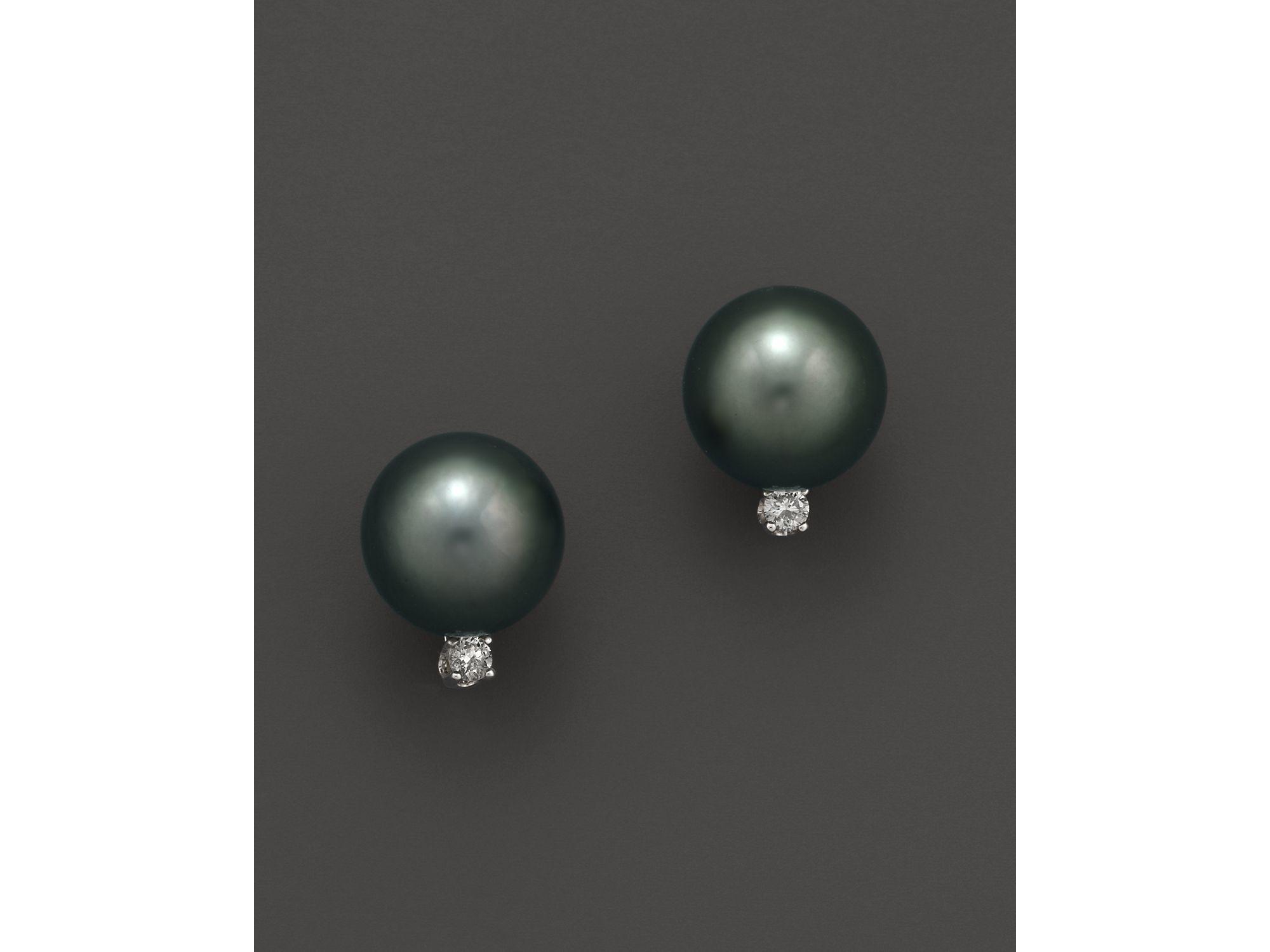 Tara pearls Cultured Tahitian Pearl & Diamond Stud Earrings 10