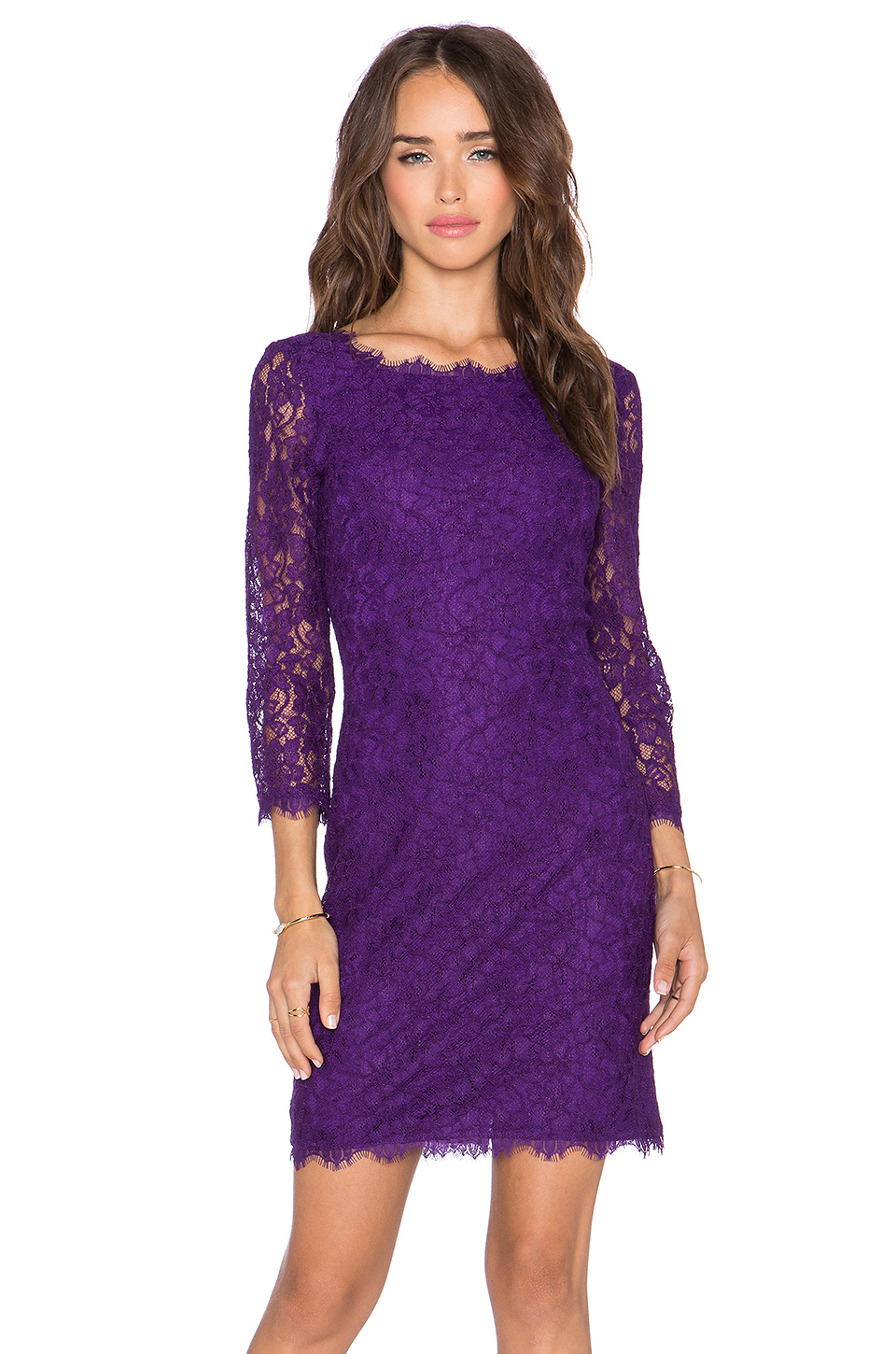 Diane von furstenberg zarita lace sheath dress in purple for Diane von furstenberg clothes