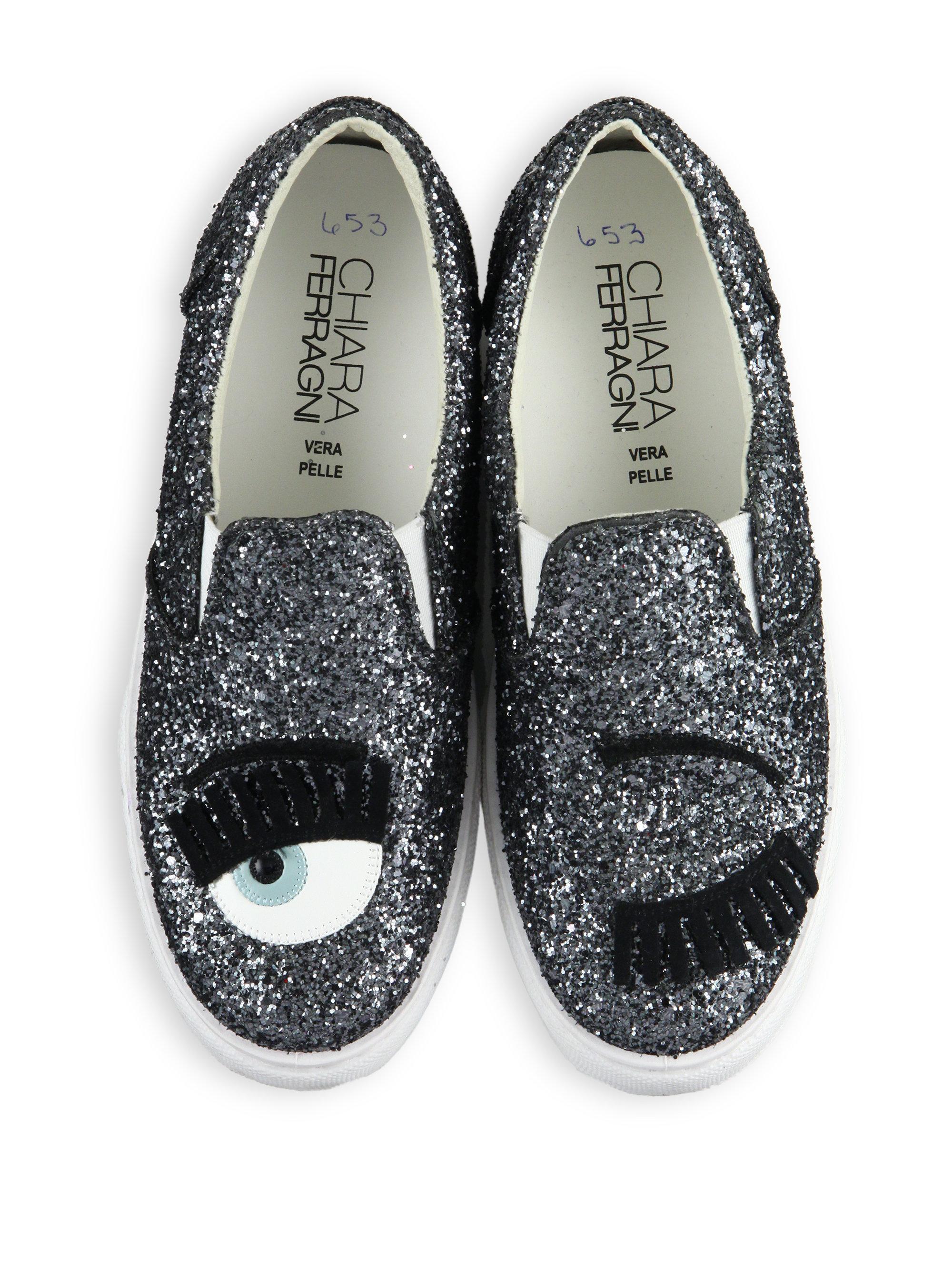 chiara ferragni wink glitter leather slip on sneakers in metallic lyst. Black Bedroom Furniture Sets. Home Design Ideas