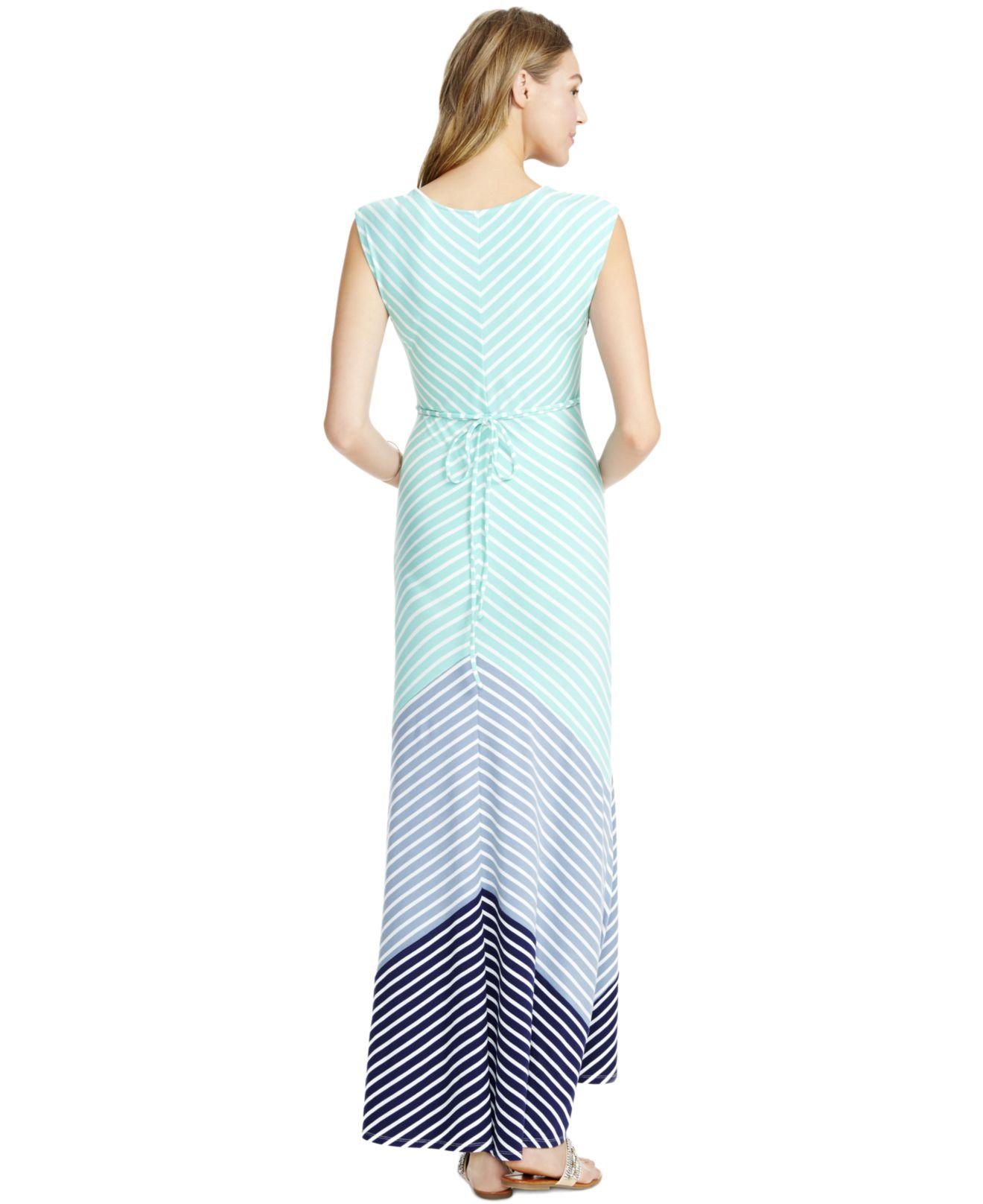 Jessica simpson maternity striped maxi dress in blue lyst gallery ombrellifo Gallery