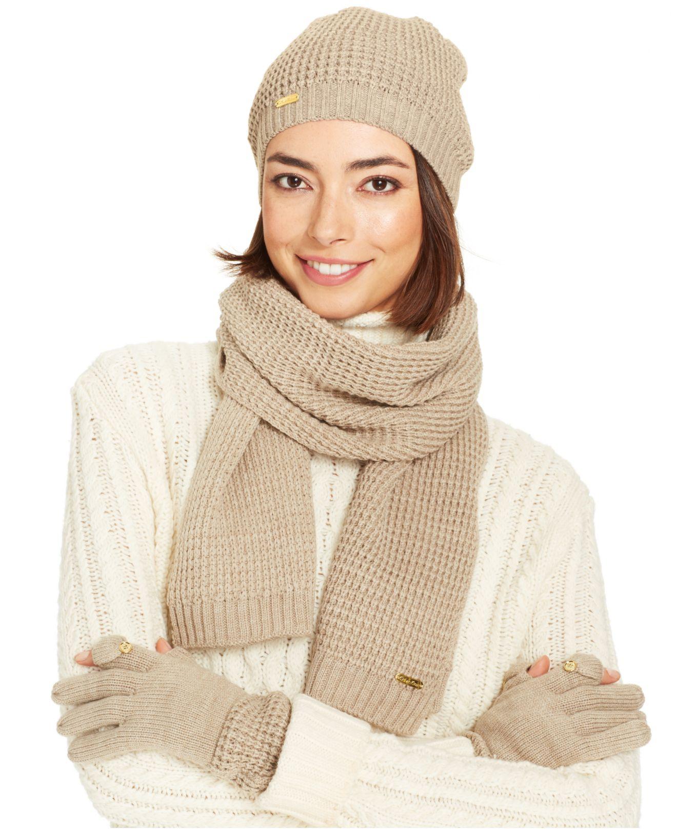 Lyst - Calvin Klein Texting Gloves   Scarf Set in Natural 2061a3690dd