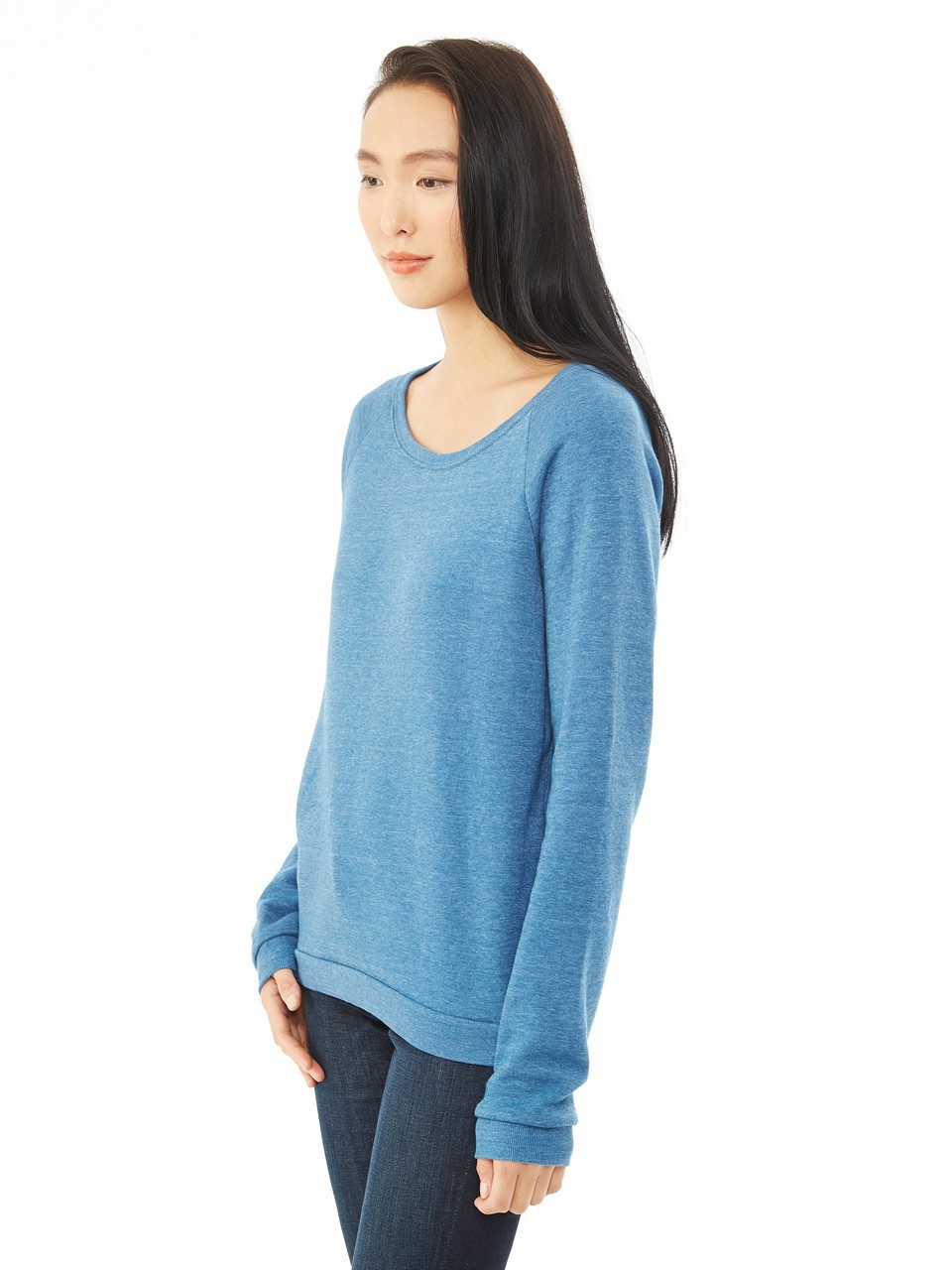 alternative apparel dash eco fleece sweatshirt in blue lyst