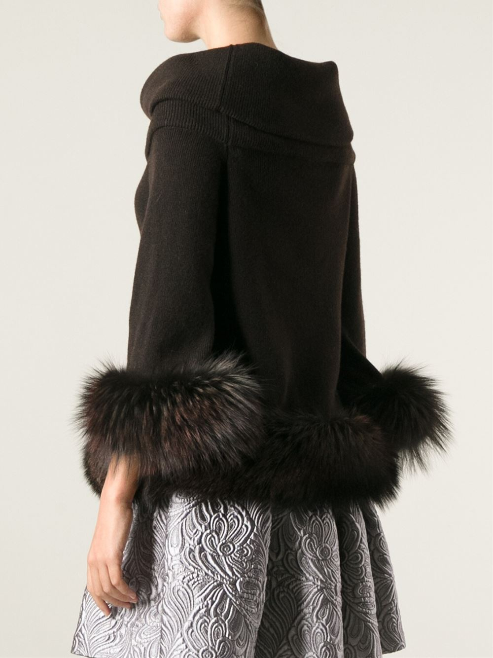 Vicedomini Fox Fur Hem And Cuffs Sweater in Brown | Lyst