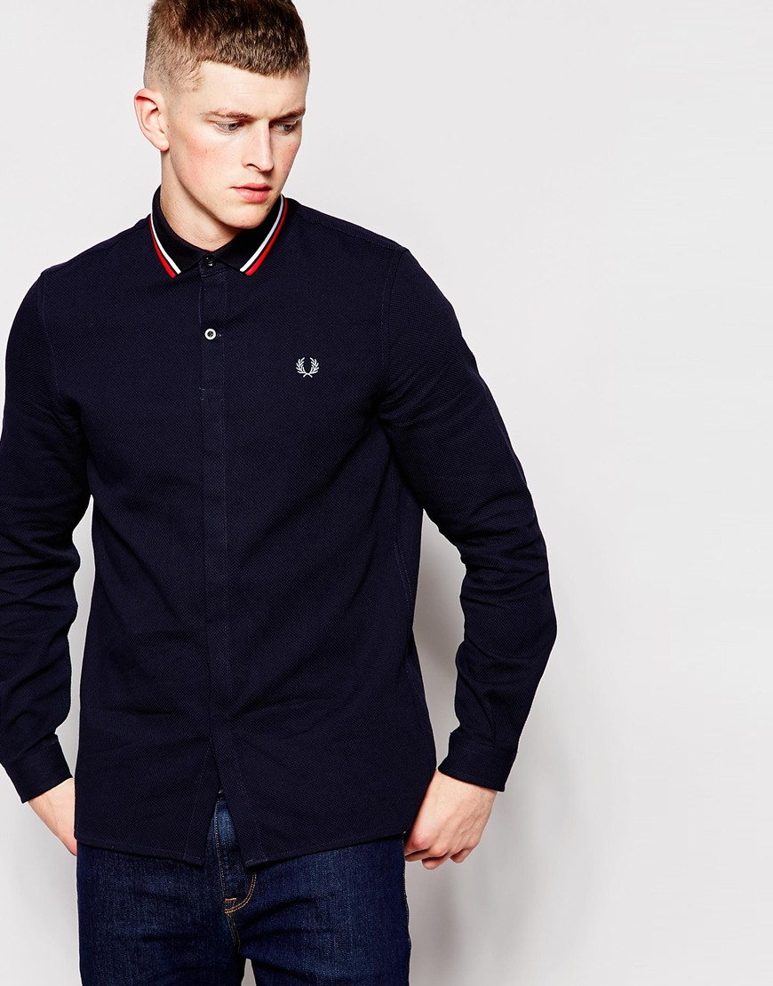 lyst fred perry shirt in slim fit with collar detail in. Black Bedroom Furniture Sets. Home Design Ideas
