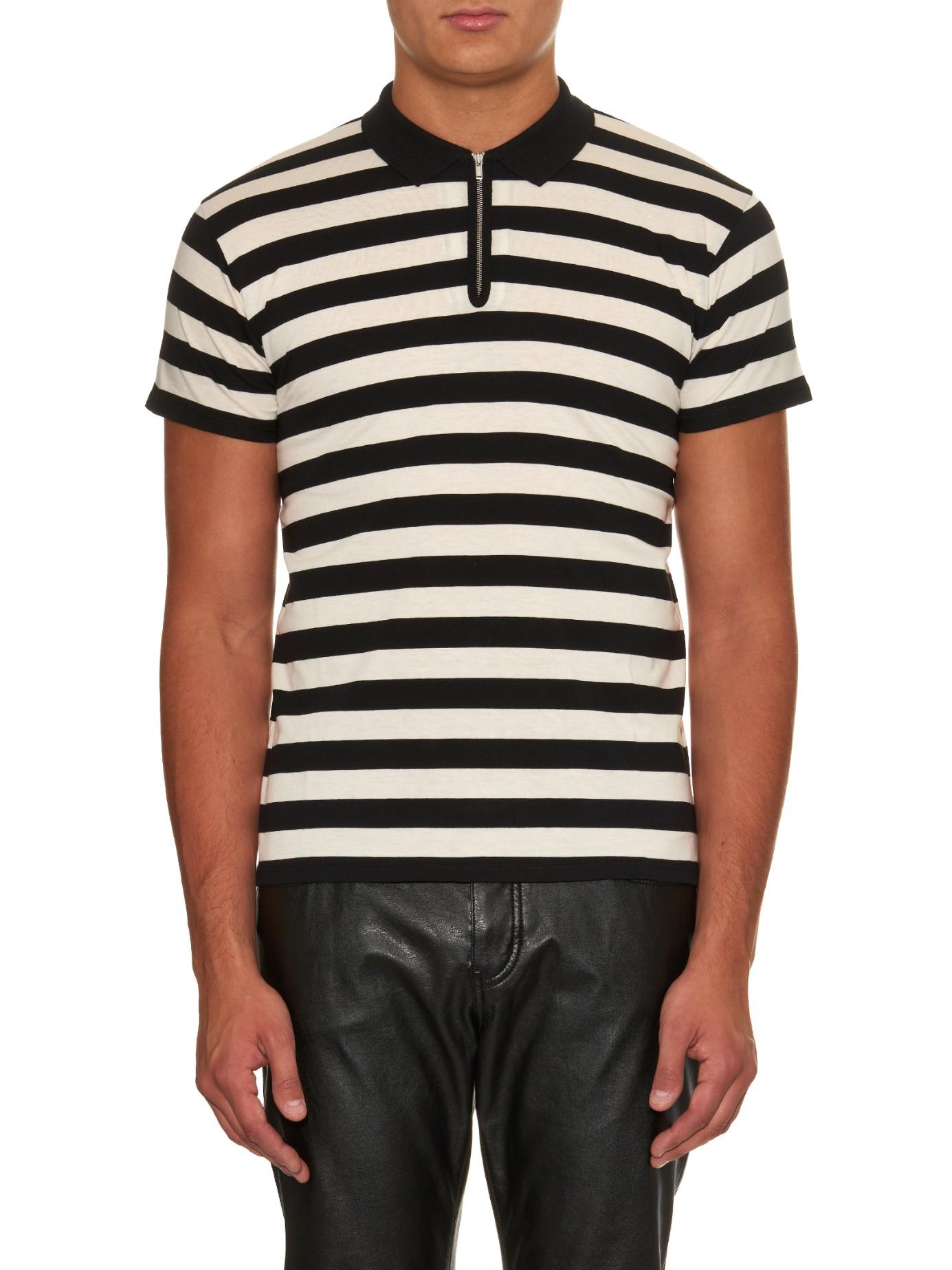 Lyst saint laurent striped cotton polo shirt in black for Black cotton polo shirt