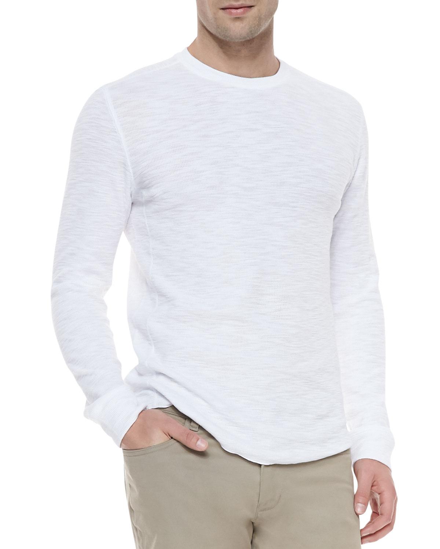 Vince Long-sleeve Slub Thermal Tee in White for Men | Lyst