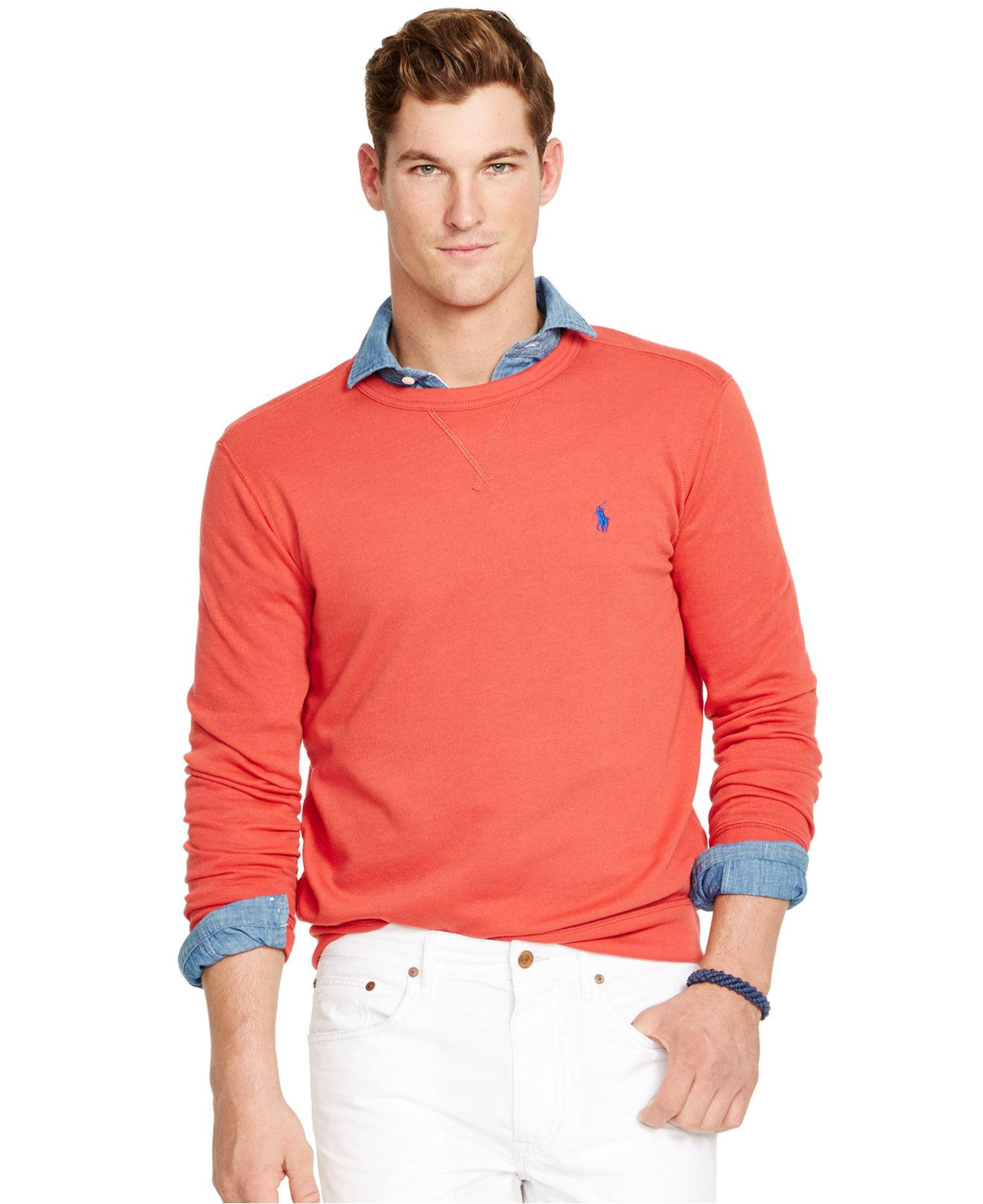 polo ralph lauren terry crew neck pullover in red for men. Black Bedroom Furniture Sets. Home Design Ideas