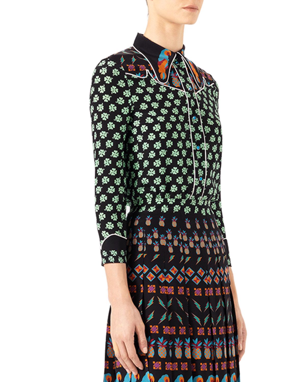 df7e2a13f8a Gucci Four Leaf Clover Silk Shirt in Black - Lyst
