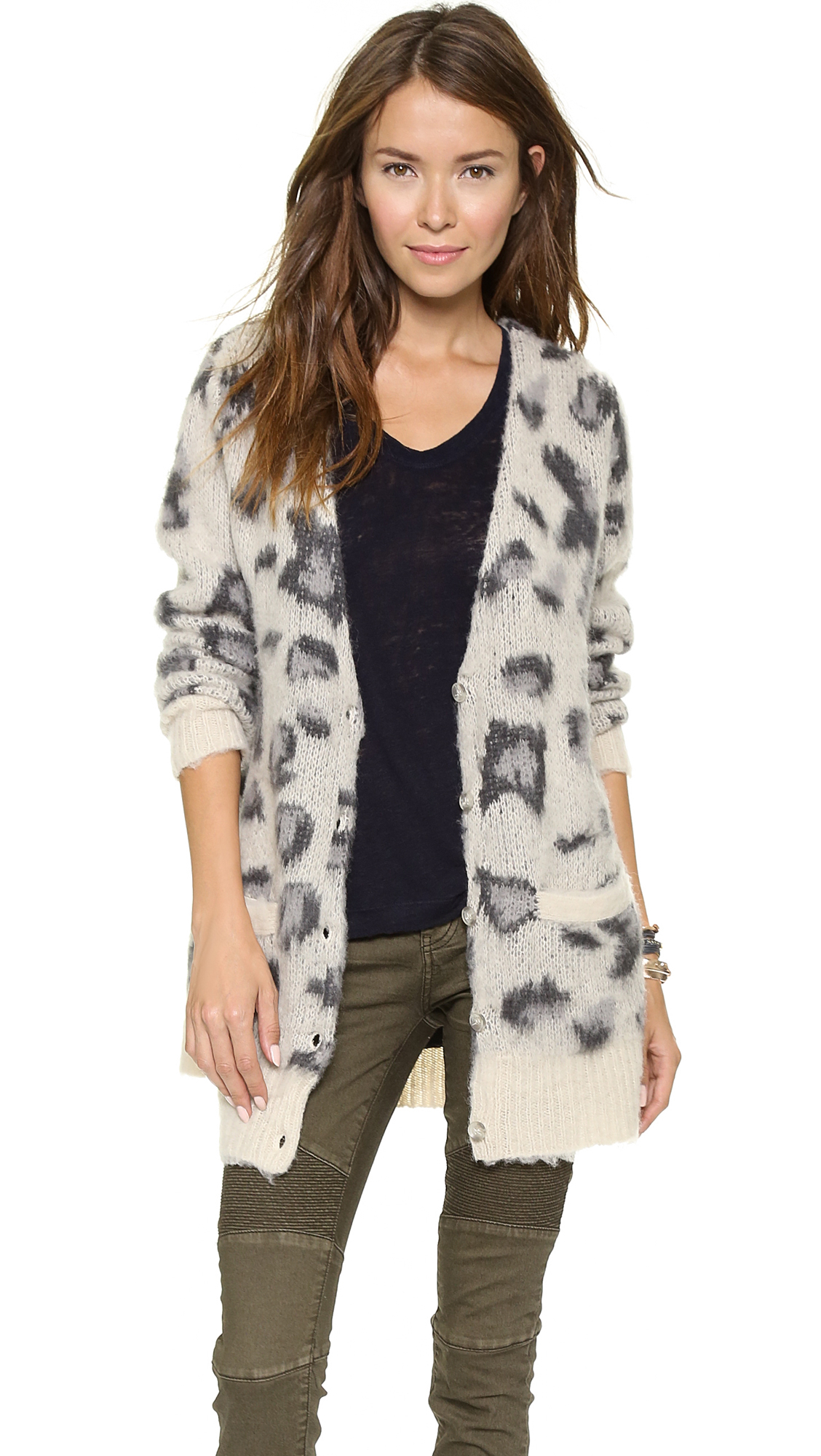 658079efd0d0 Free People Out Of Africa Cardigan Snow Leopard - Lyst